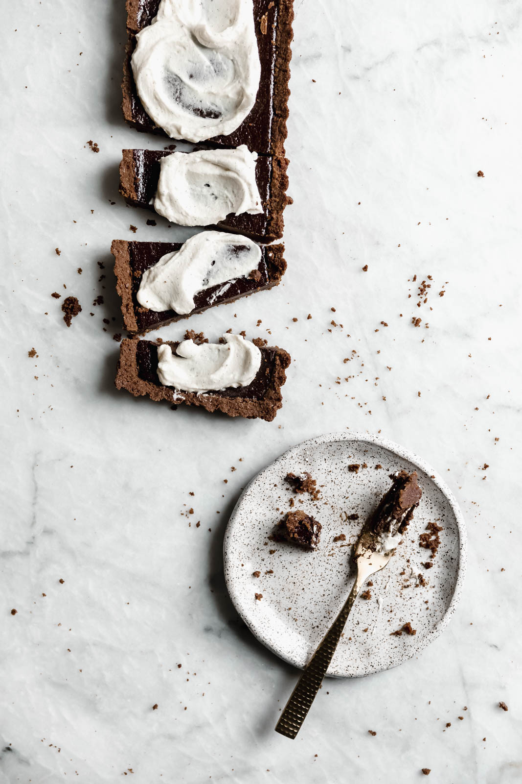 Mocha Chocolate Tart with Crème Fraîche Whipped Cream
