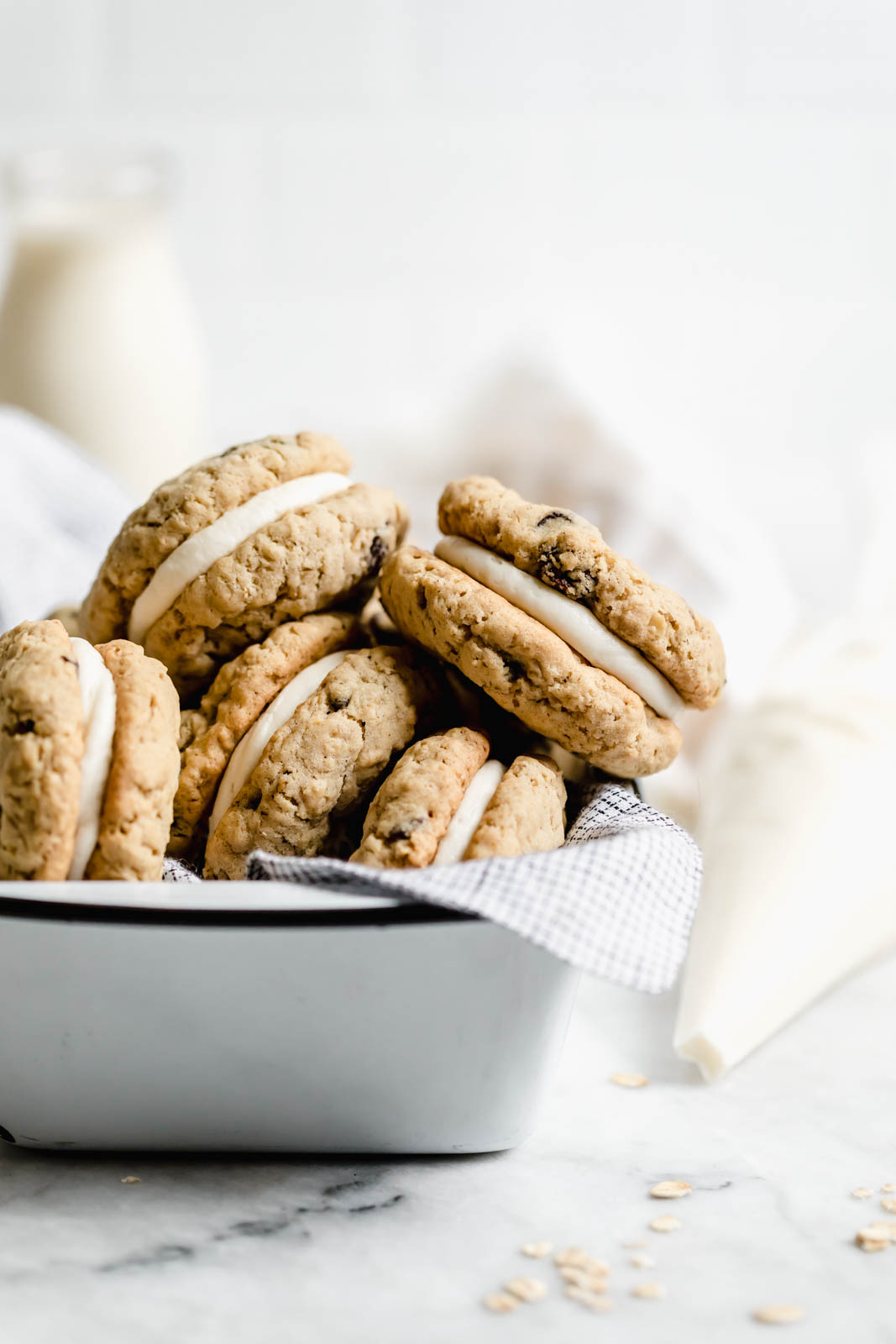 oatmeal whoopie pies with cream cheese frosting in a baking dish