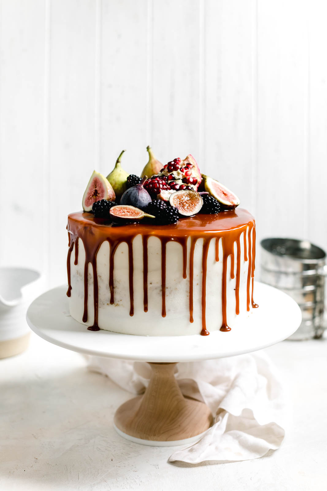 Pumpkin cake on a cake stand