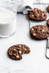 Chewy Chocolate Peanut Butter Chip Cookies are a comforting, crowd-pleasing winter cookie. Perfect dipped in a nice glass of cold milk!