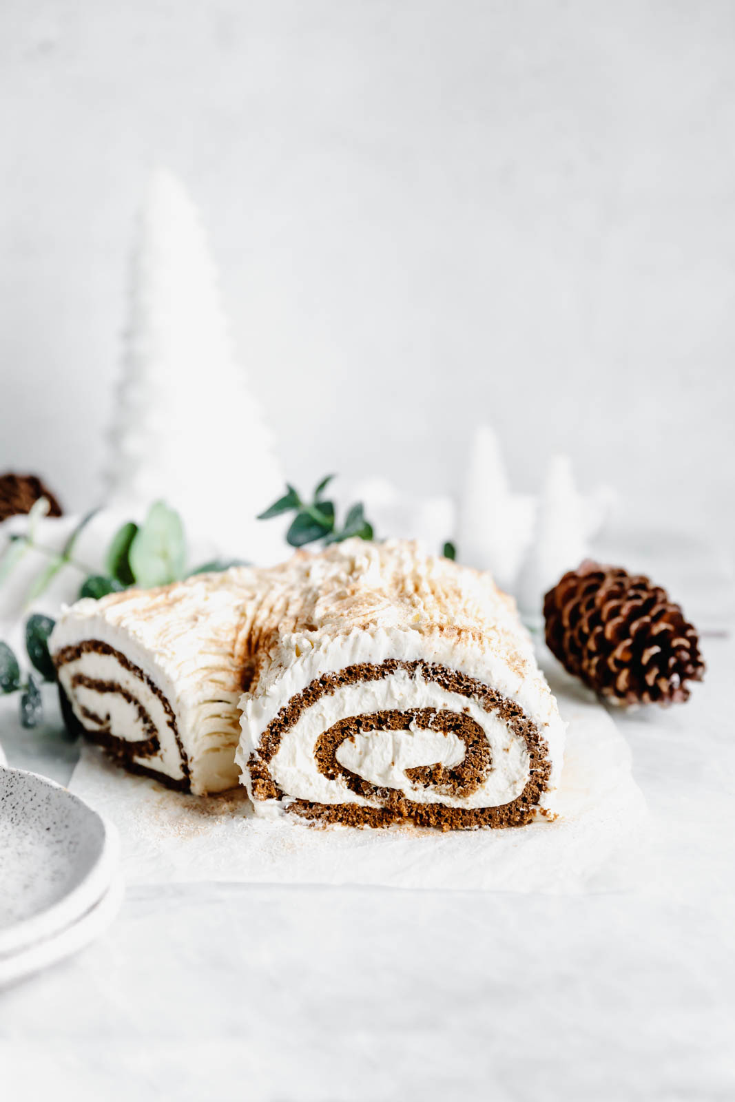 This festive White Chocolate Gingerbread Yule Log is a showstopper Christmas dessert. Made with white chocolate buttercream