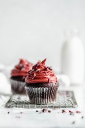 Raspberry Rose Chocolate Cupcakes for Two: one for you, one for your boo. Or two for you, because no one is judging here!