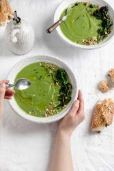 broccoli soup in bowls