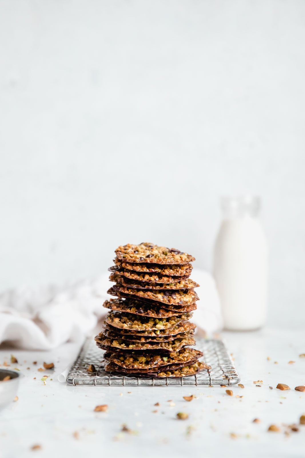 crunchy homemade lace cookies in a stack