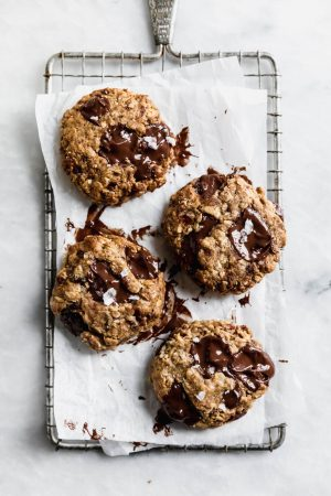 Yes these Tahini Oatmeal Chocolate Chunk Cookies are vegan, gluten free, and refined sugar free, but they sure as heck don't taste like a healthy food.