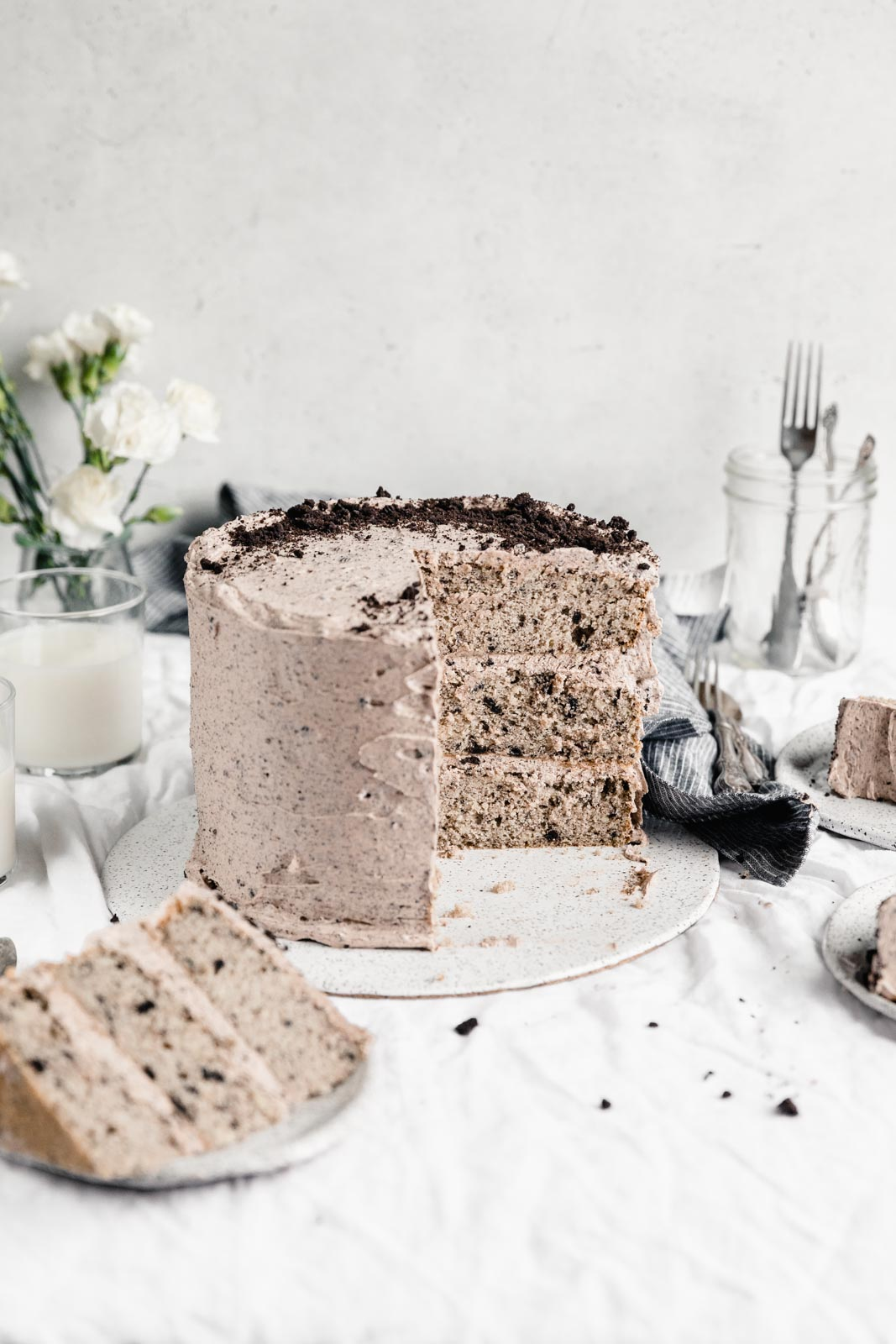 cookies and cream cake with coffee oreo buttercream