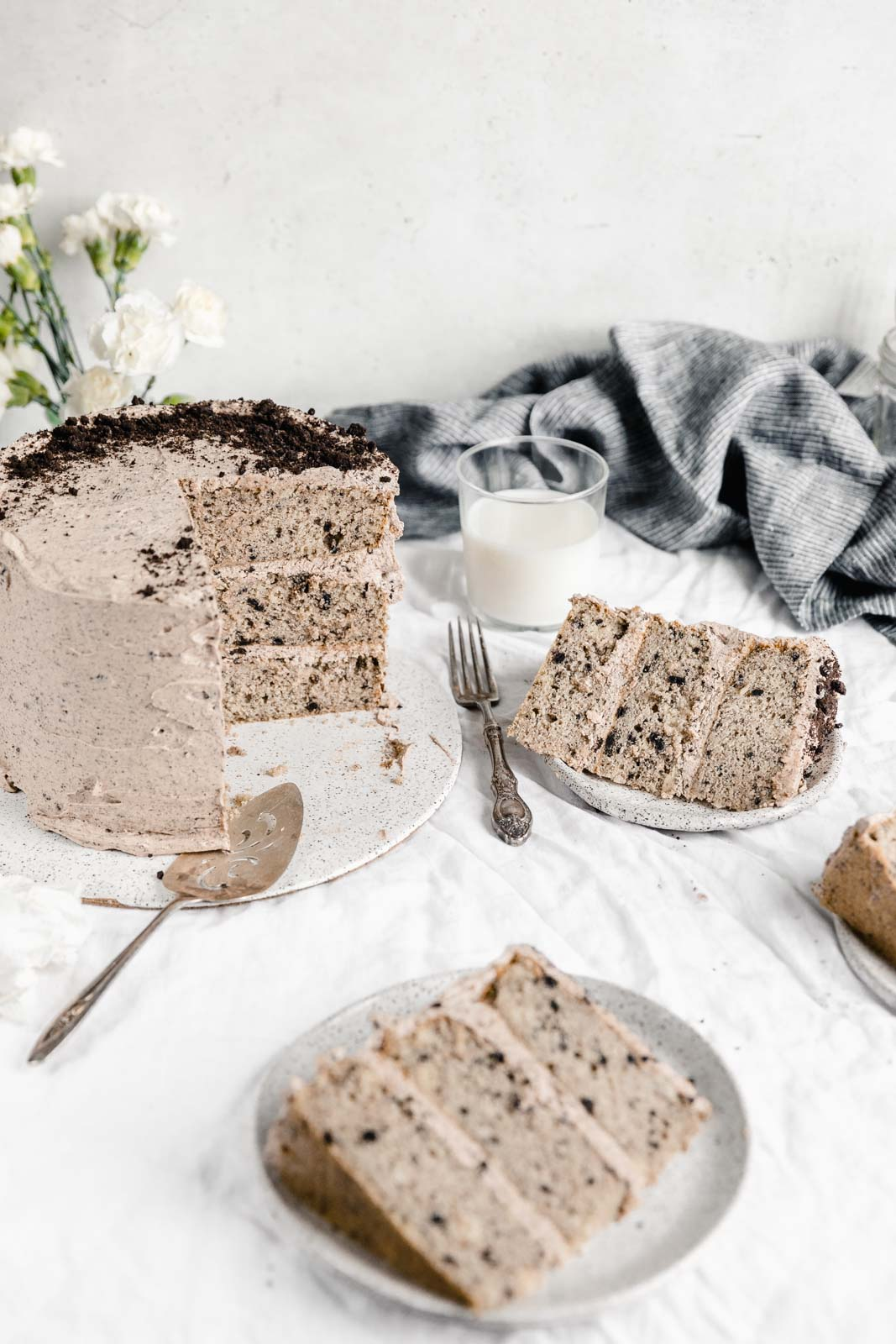 coffee oreo layer cake with slices on plates