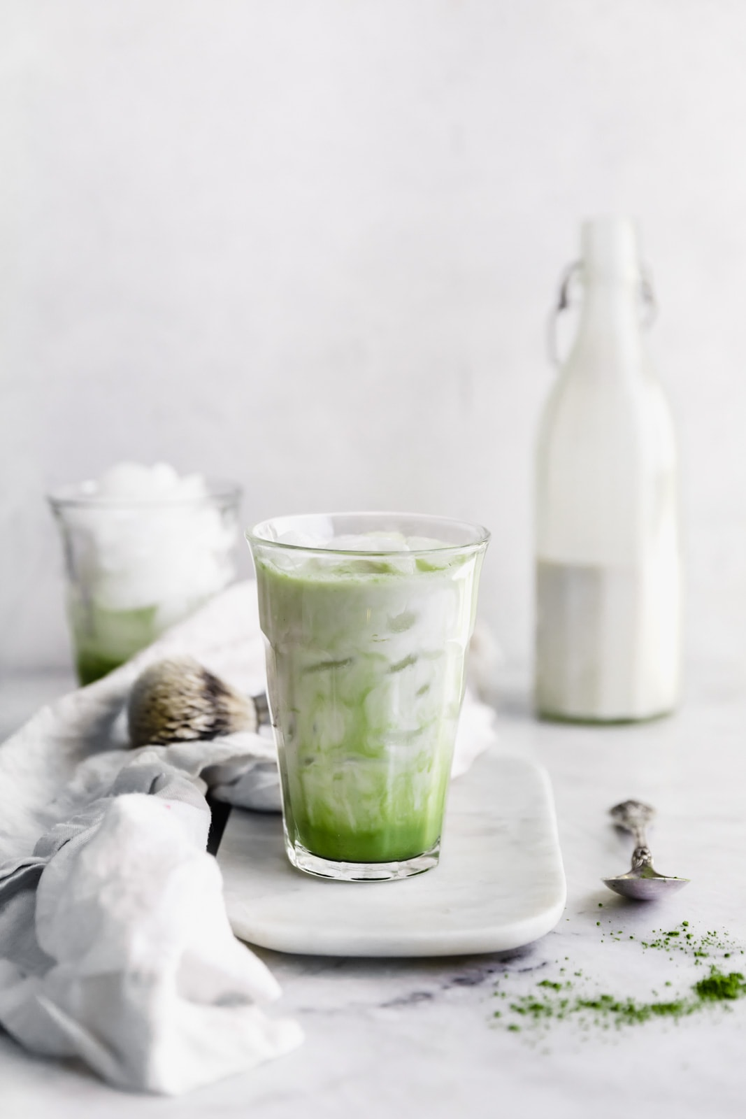 These insta-worthy White Chocolate Matcha Iced Lattes are the perfect afternoon pick-me-up. Power through the rest of the day with this sweet, green, caffeinated treat.