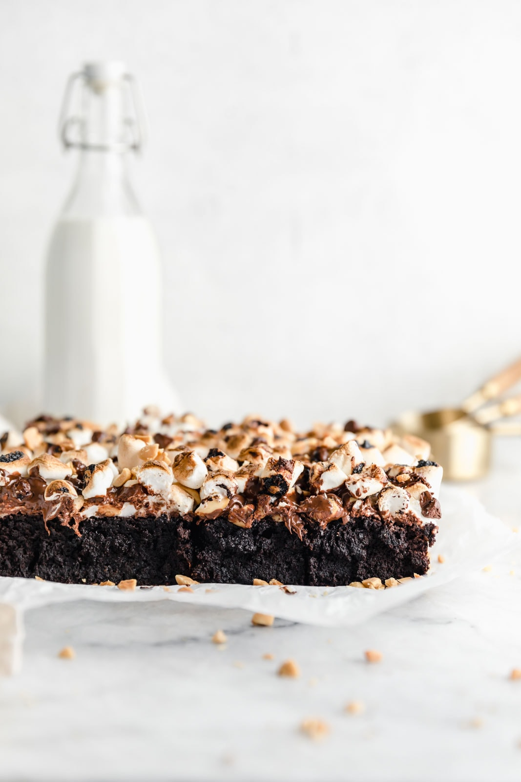 cross section of rocky road brownies