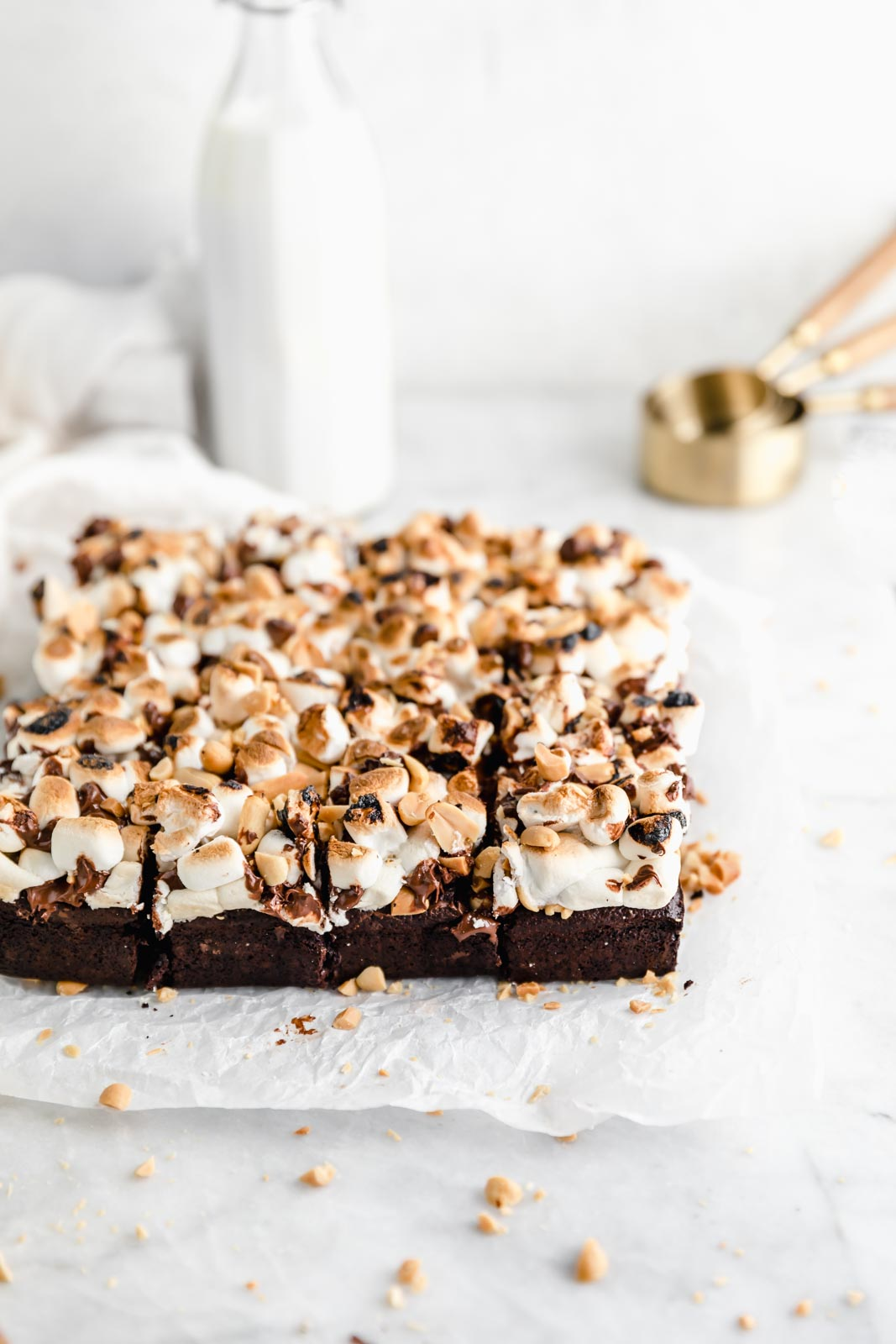 rocky road brownies topped with marshmallows and chocolate