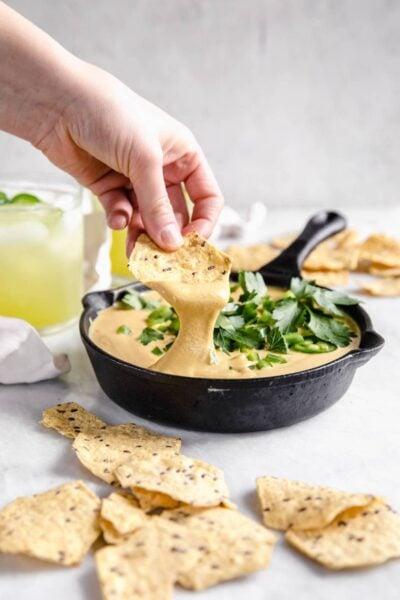 creamy vegan queso made with cashews and the perfect blend of smoky spice