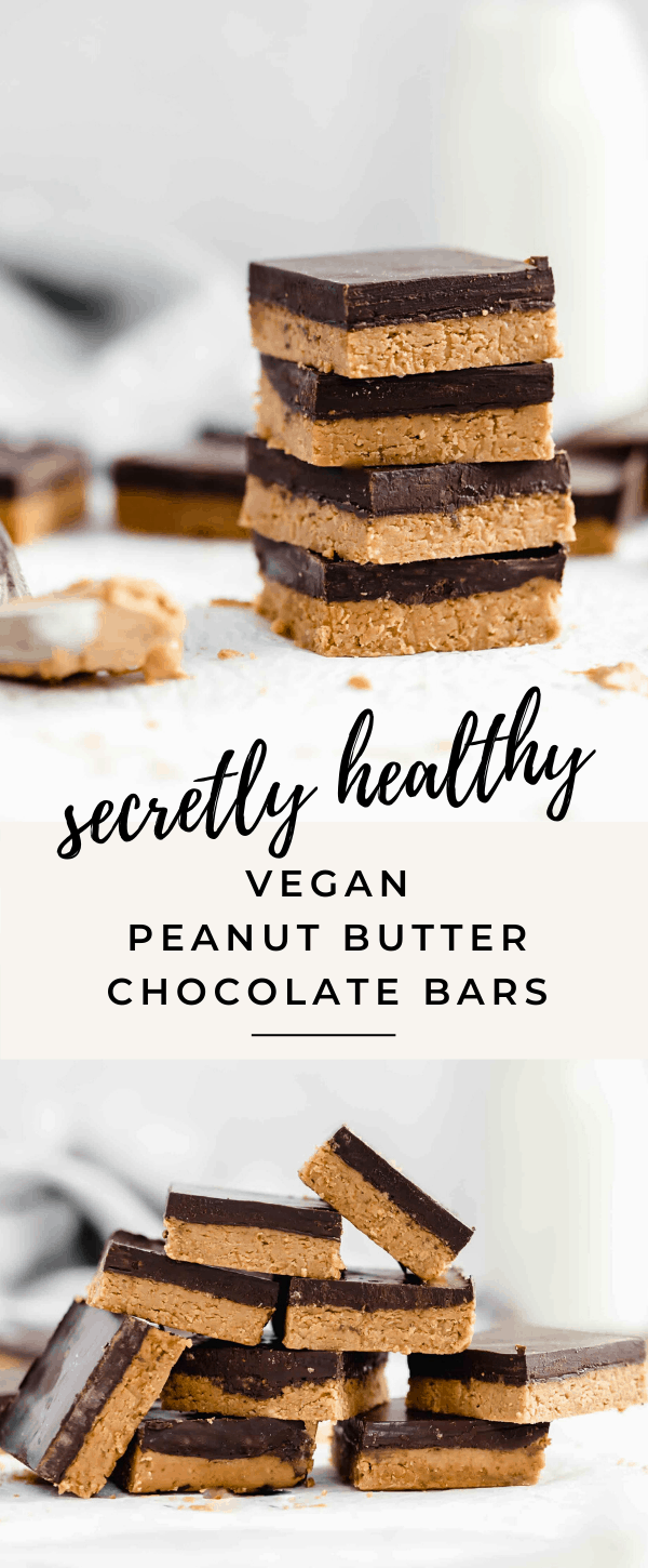 These decadent vegan peanut butter chocolate bars are no bake and super easy to make!