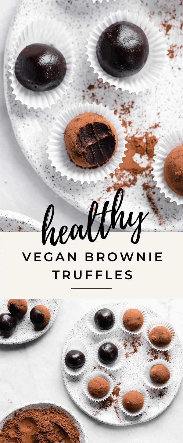 You'd never know these fudgy healthy vegan brownies truffles are raw, refined sugar free, AND gluten free. They're a chocolate lovers dream.