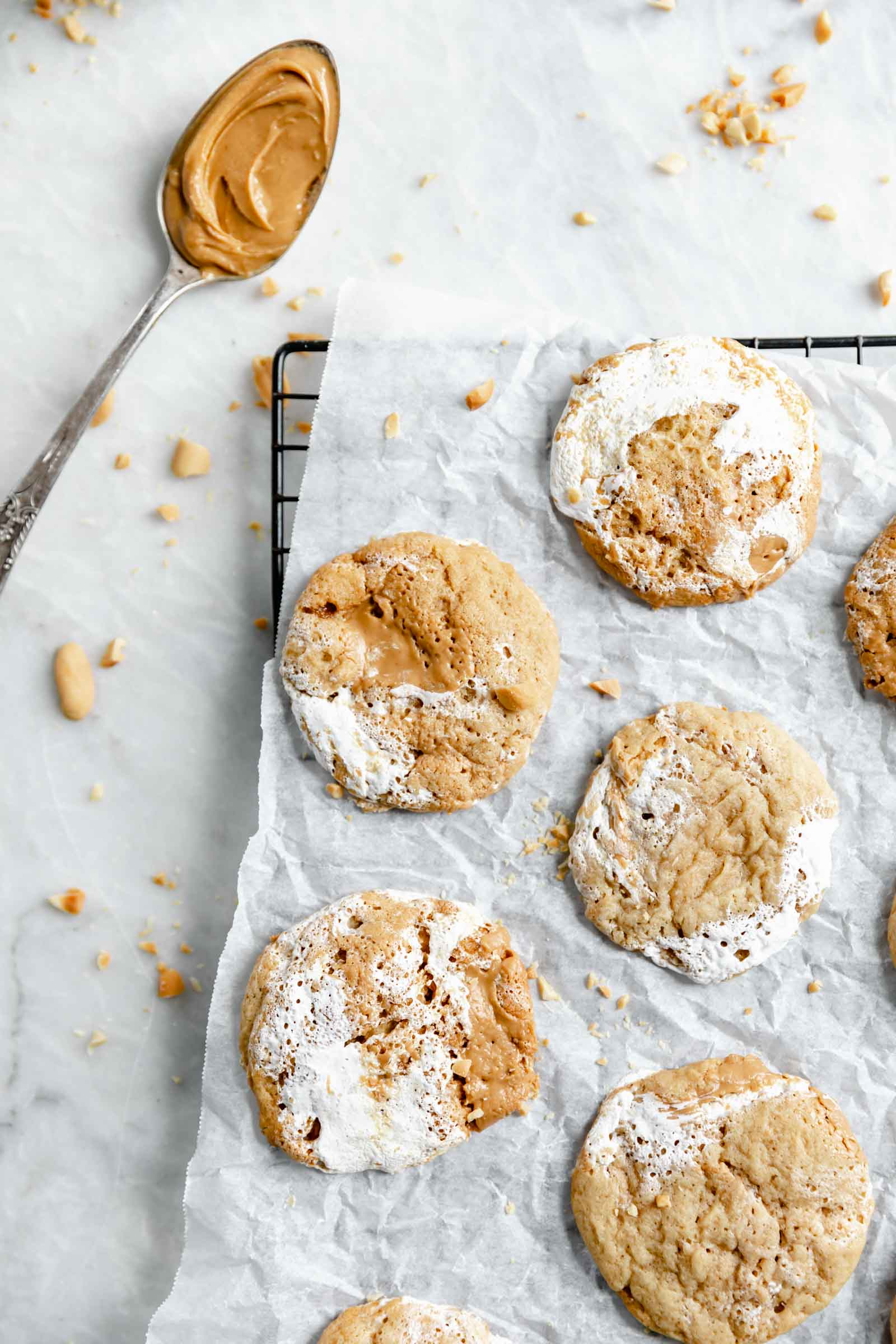 chewy homemade fluffernutter cookies on a cooling rack