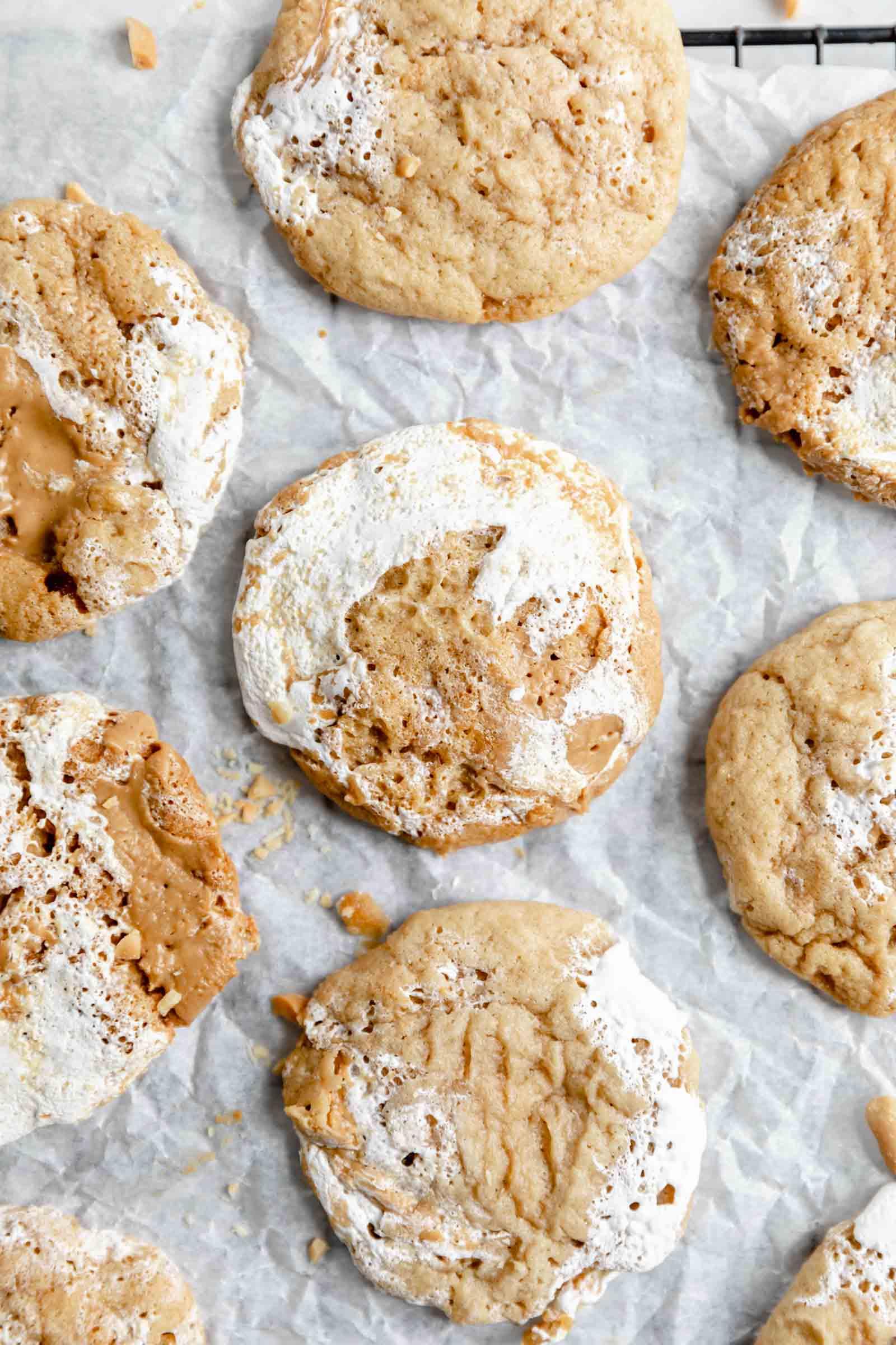 fresh fluffernutter cookies on parchment paper