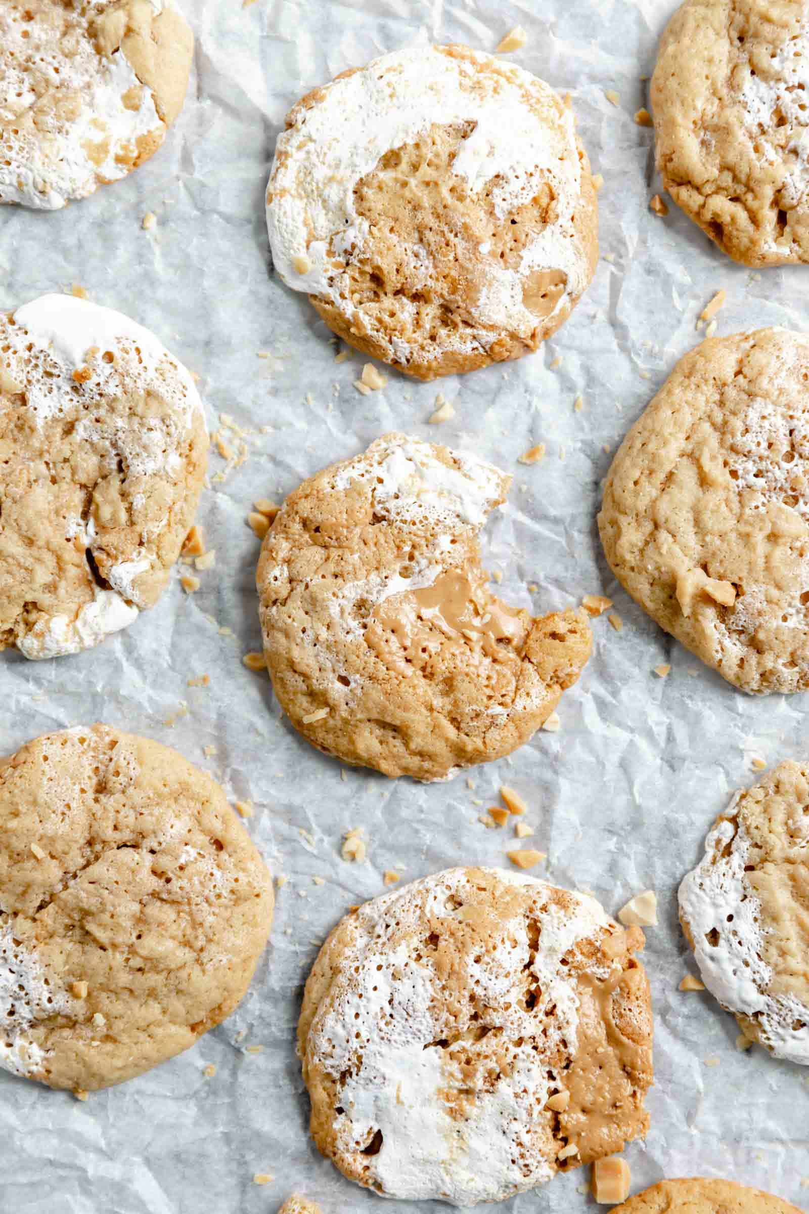 fluffernutter cookies aka thick cookies swirled with peanut butter and marshmallow fluff