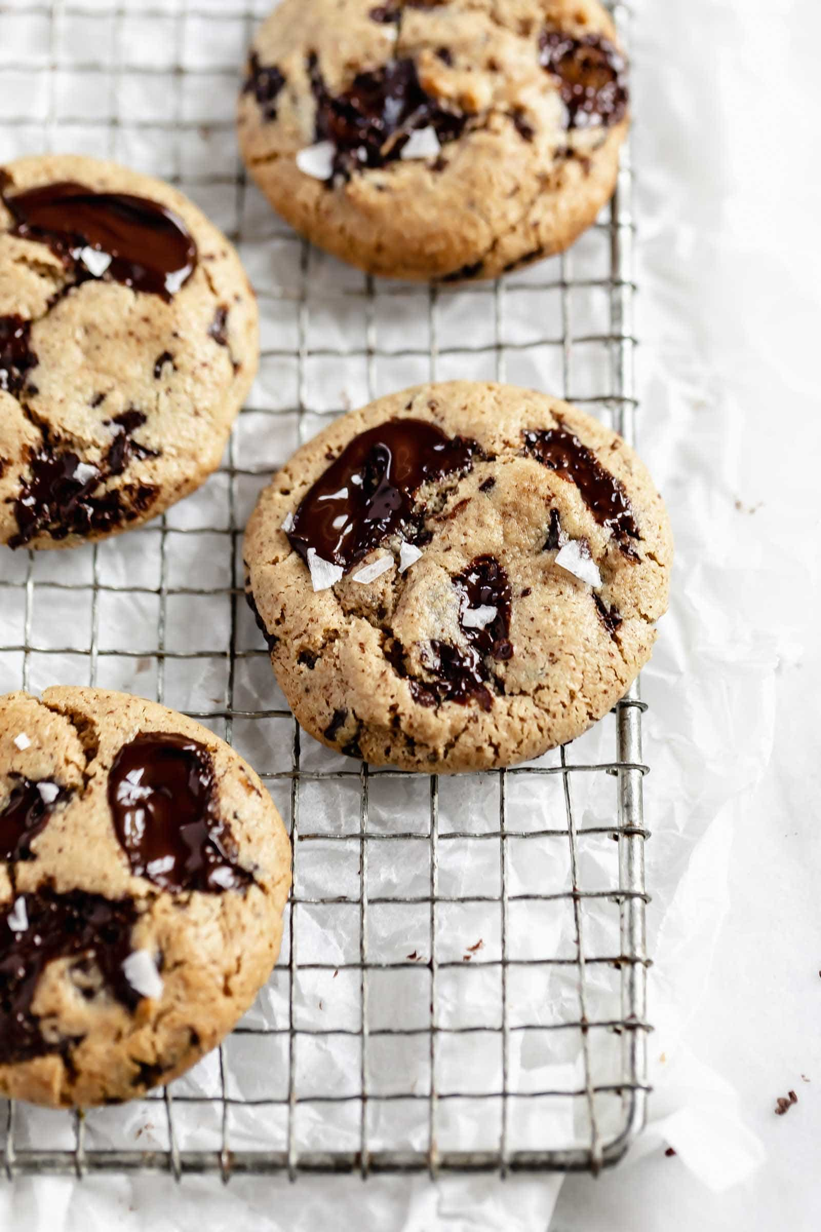 healthy gluten free chocolate chip cookies on a cooling rack
