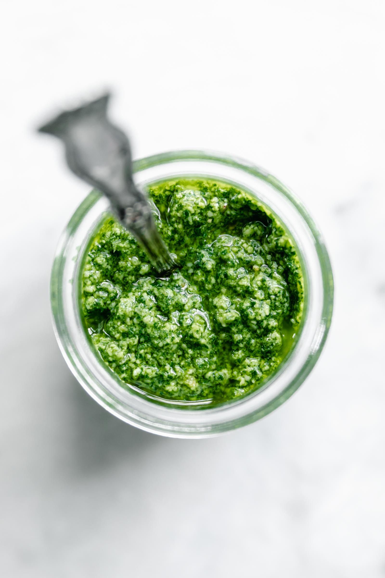 fresh pesto in a jar
