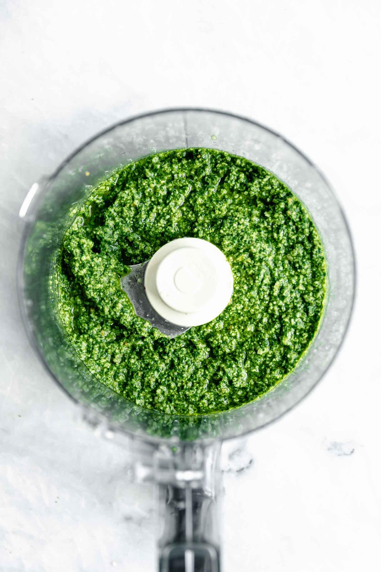 pesto process shot in food processor