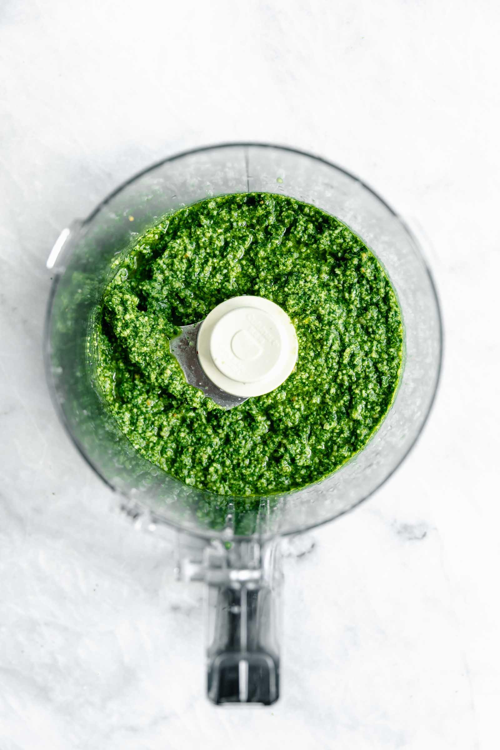 homemade pesto blended in food processor
