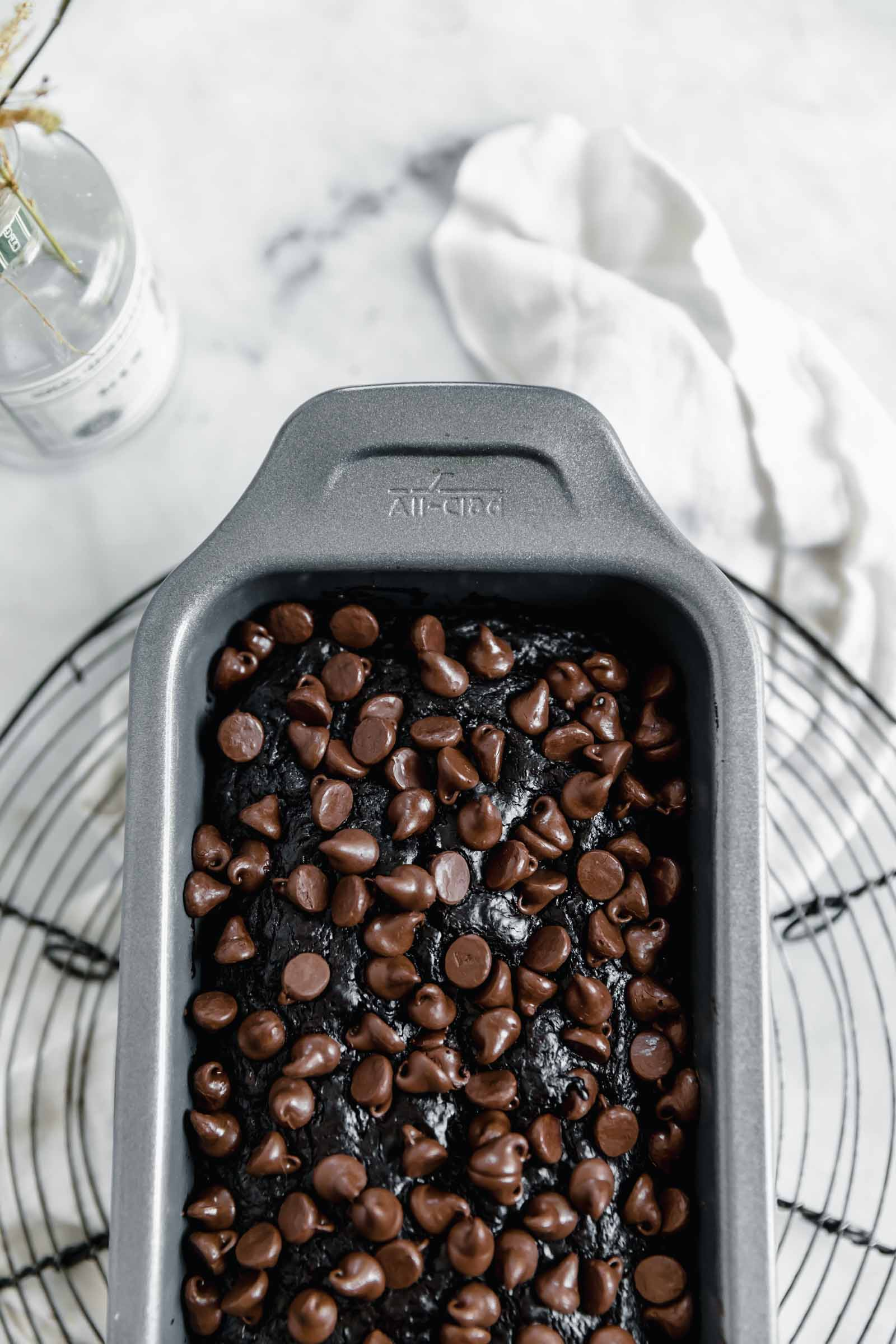double chocolate zucchini breadi in all clad loaf pan