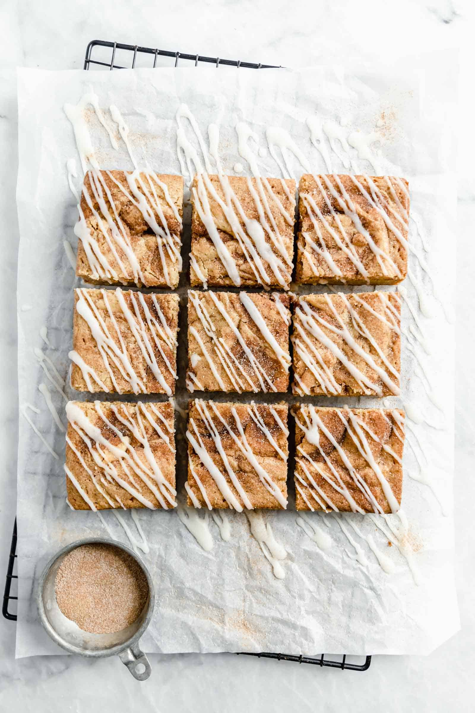 cinnamon roll blondies with a cinnamon sugar swirl