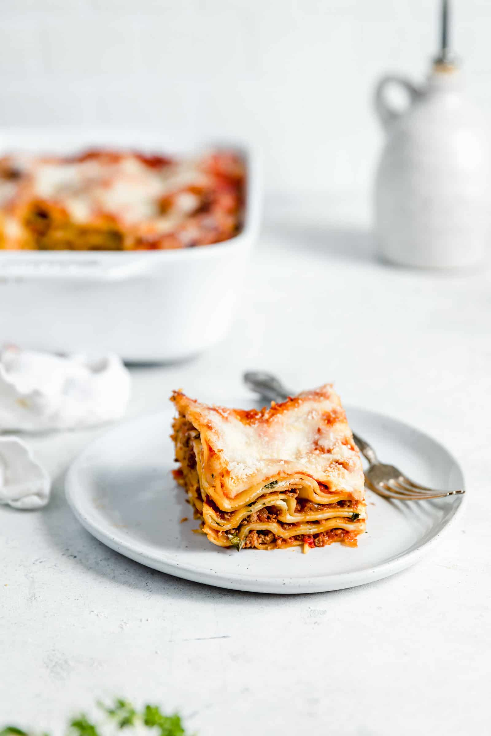 slice of meat lasagna on a plate