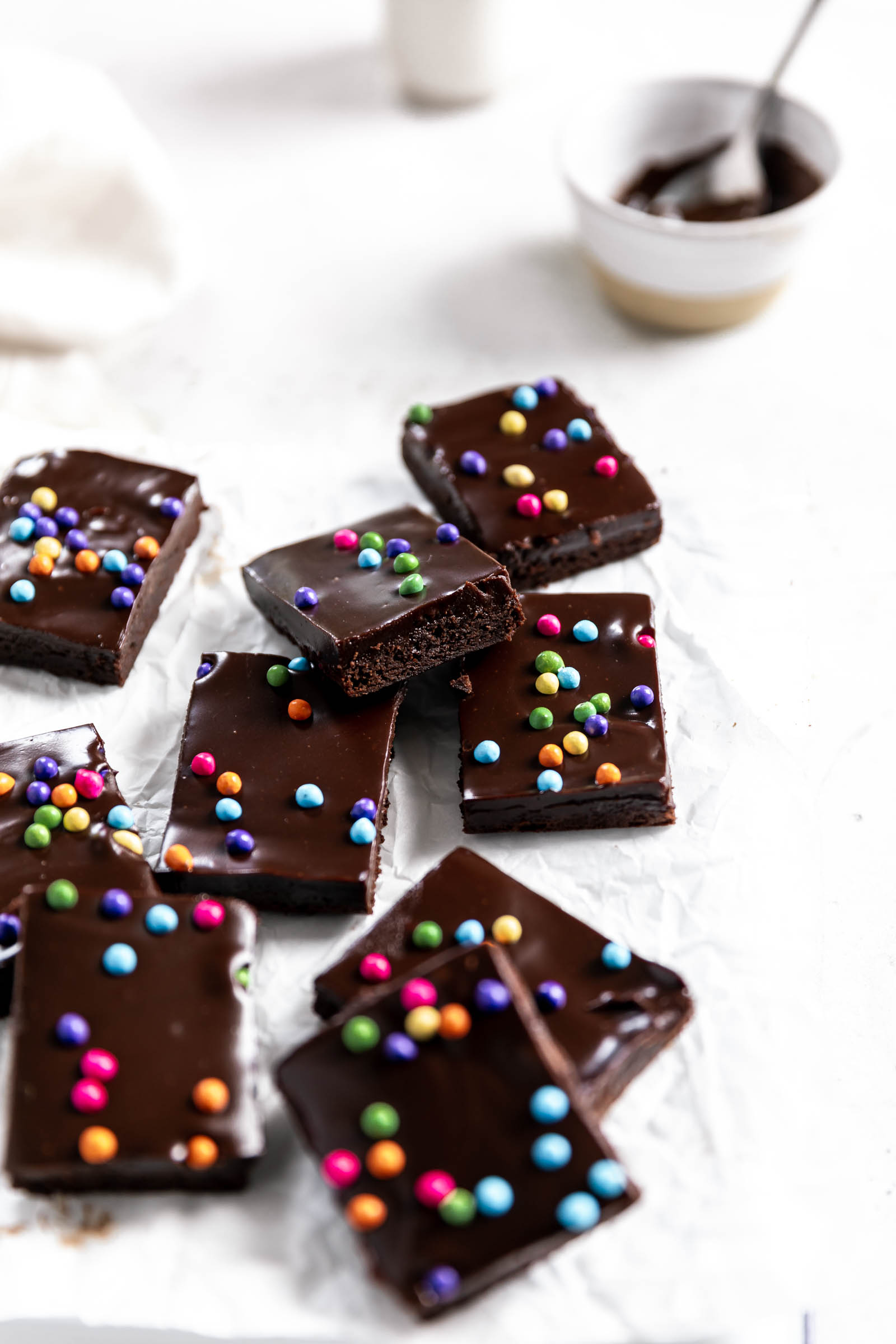 copycat cosmic brownies on parchment paper