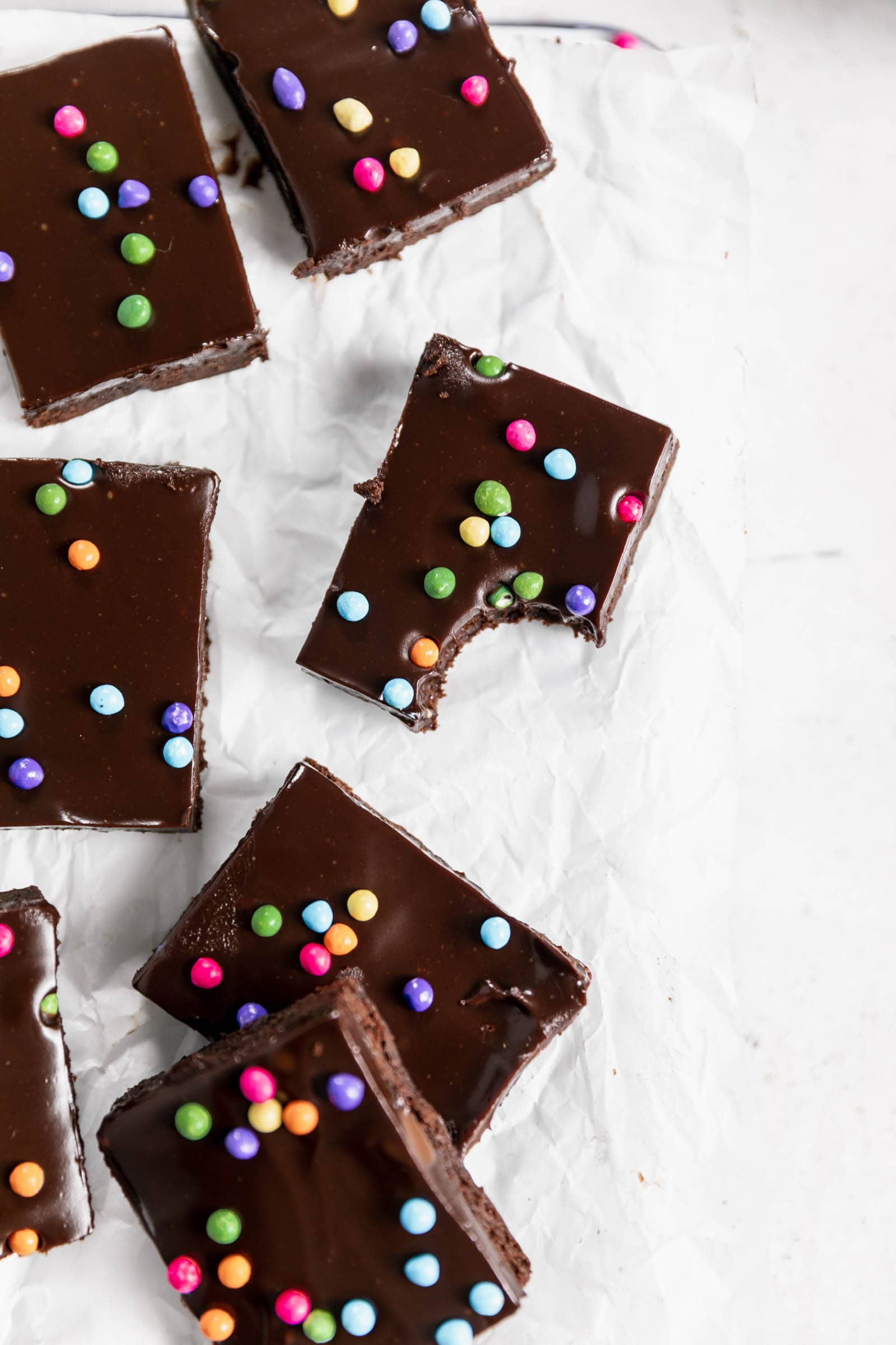 copycat cosmic brownies with a bite taken out