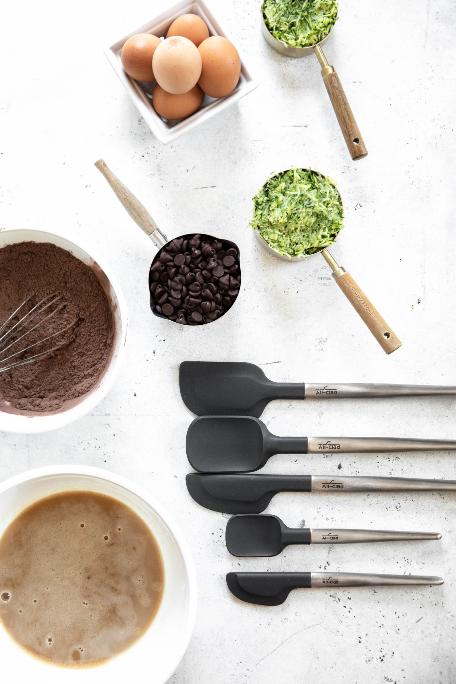 silicone baking tools with ingredients for chocolate zucchini bread