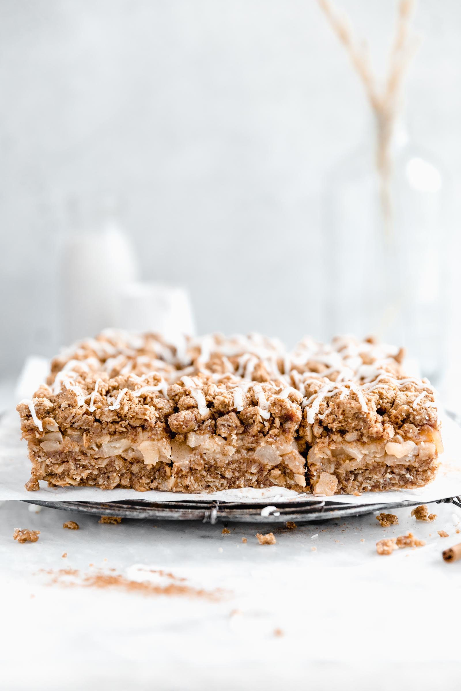 Cross section of healthy apple crumb bars