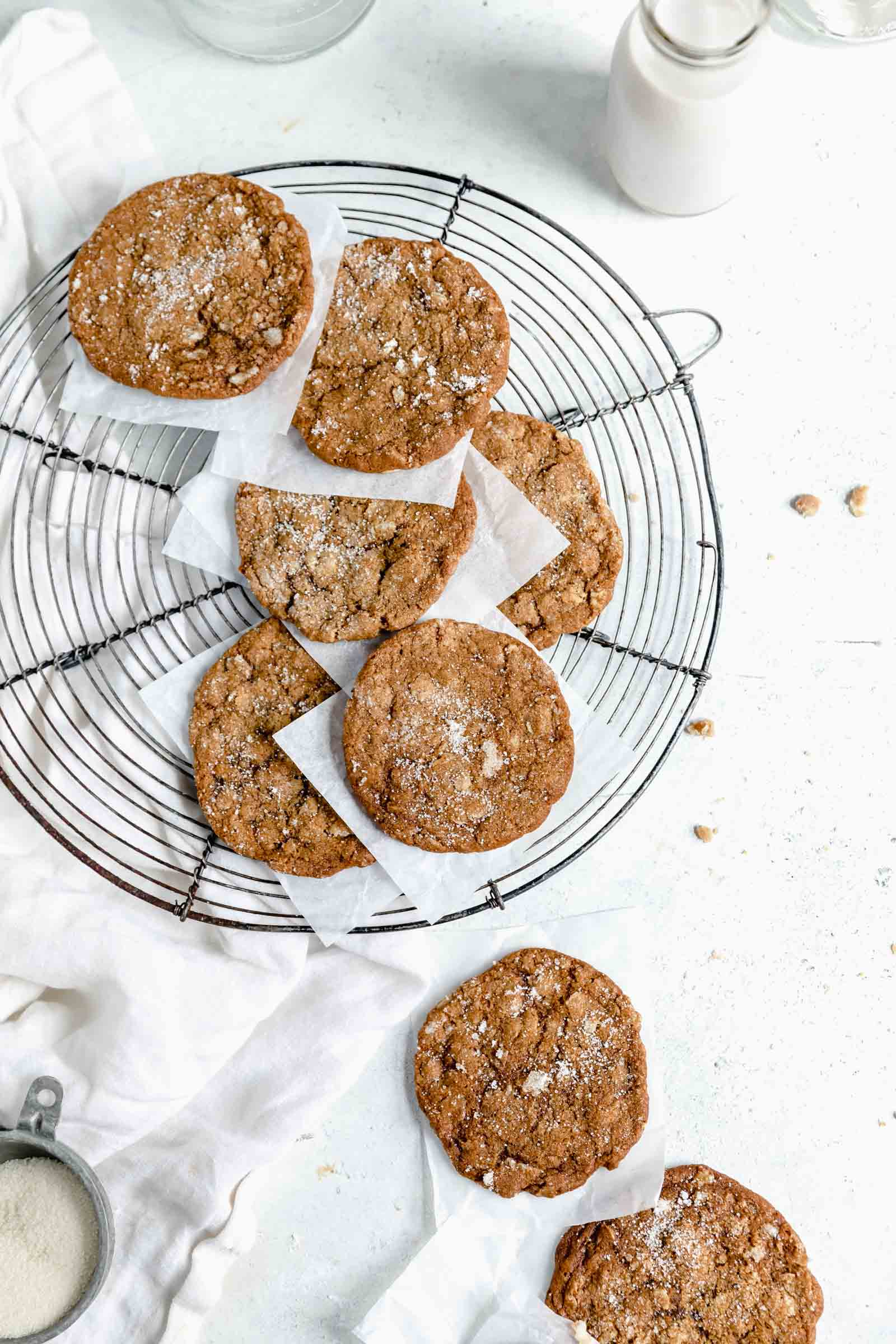 ginger oatmeal cookies on cooling rack