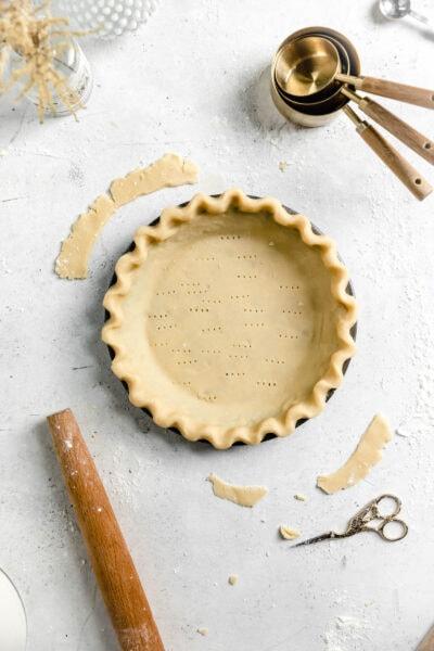 flaky pie crust in pan