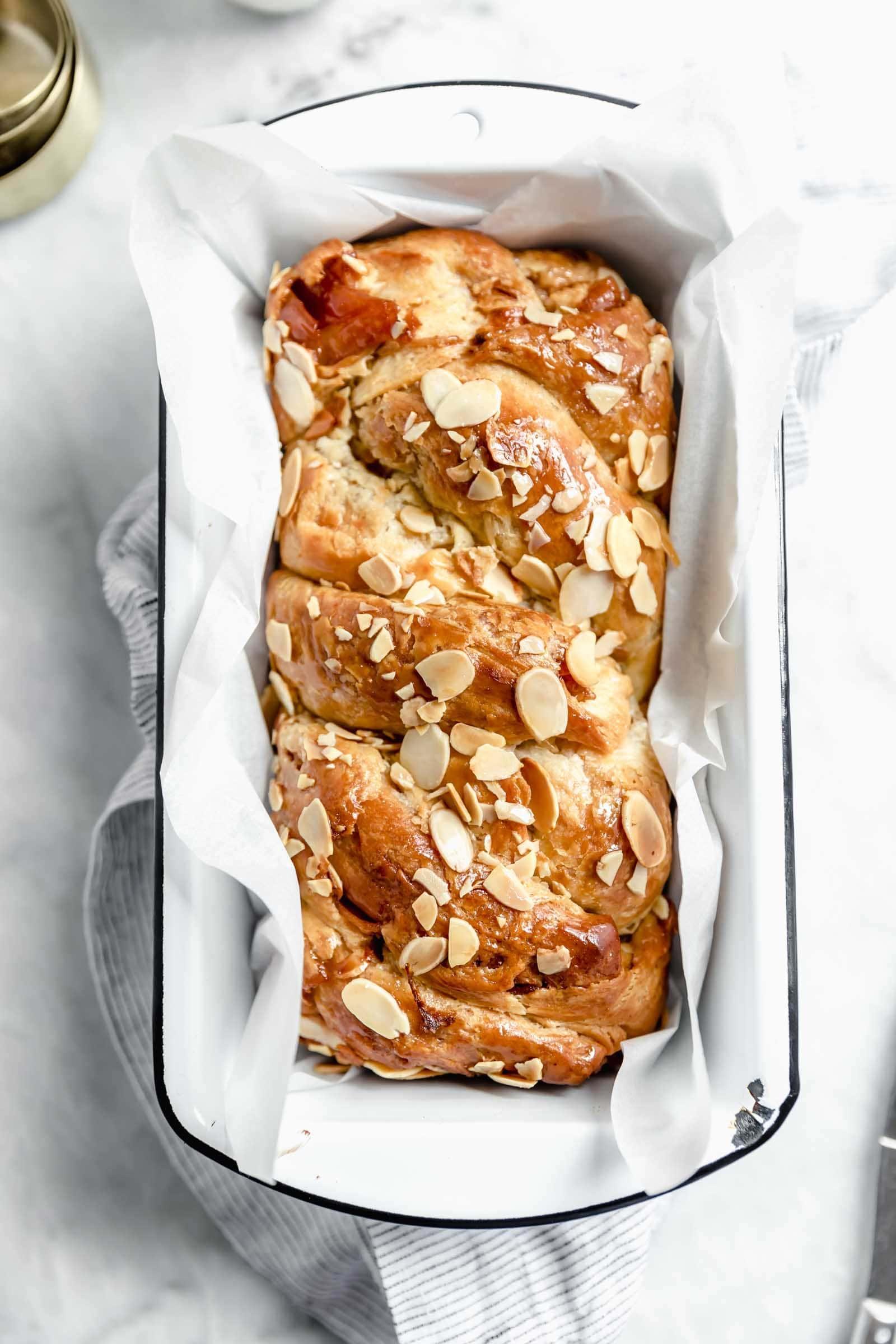 overhead shot of cinnamon apple babka in loaf pan