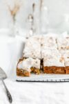 carrot sheet cake with thick cream cheese frosting