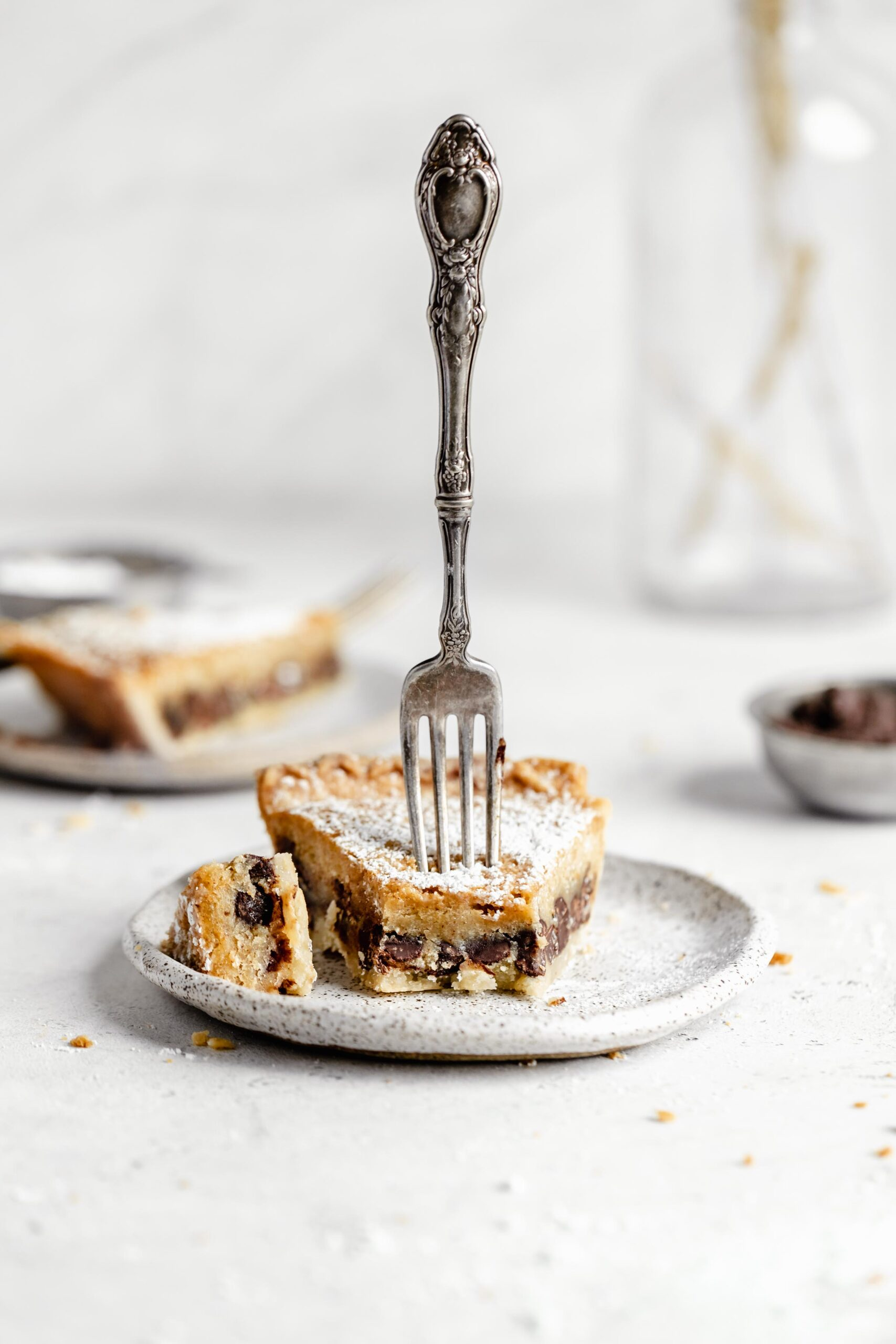 chocolate chip cookie pie on a plate
