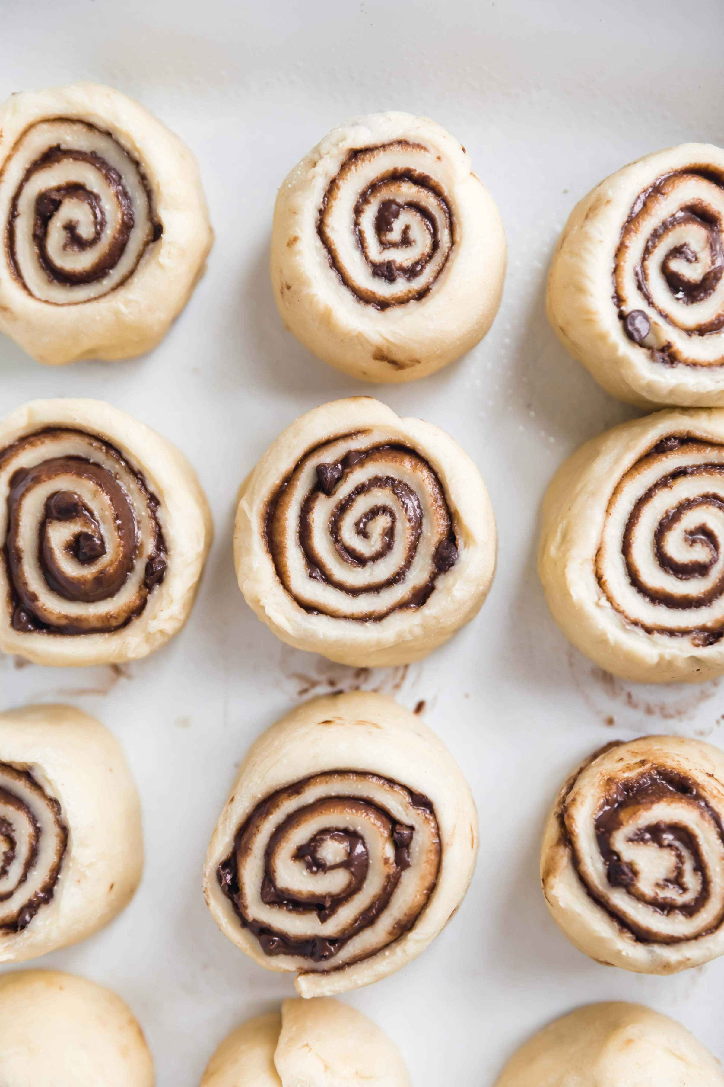 overhead shot of cinnamon rolls before heading into the oven