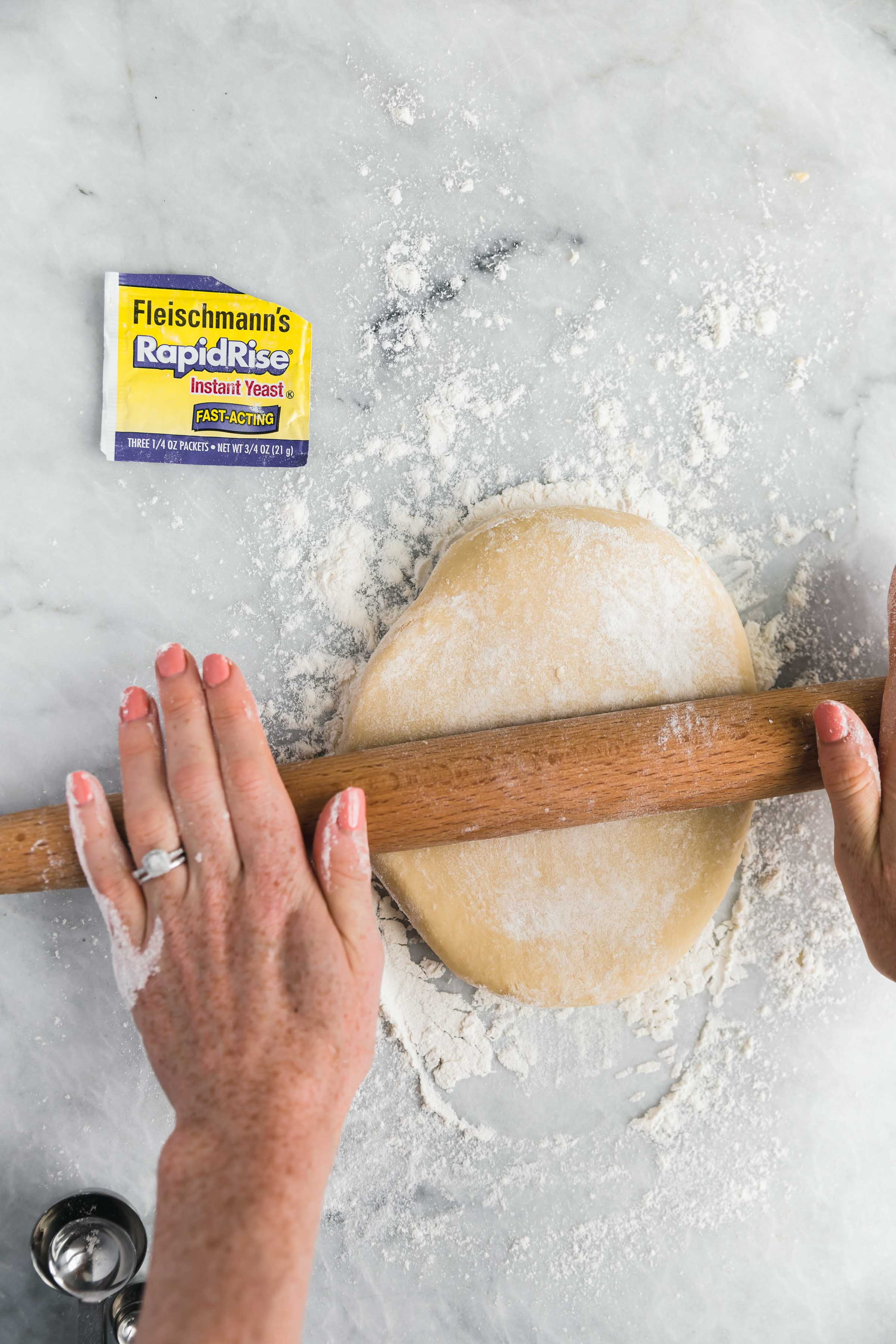 roll the dough out into a recatangle
