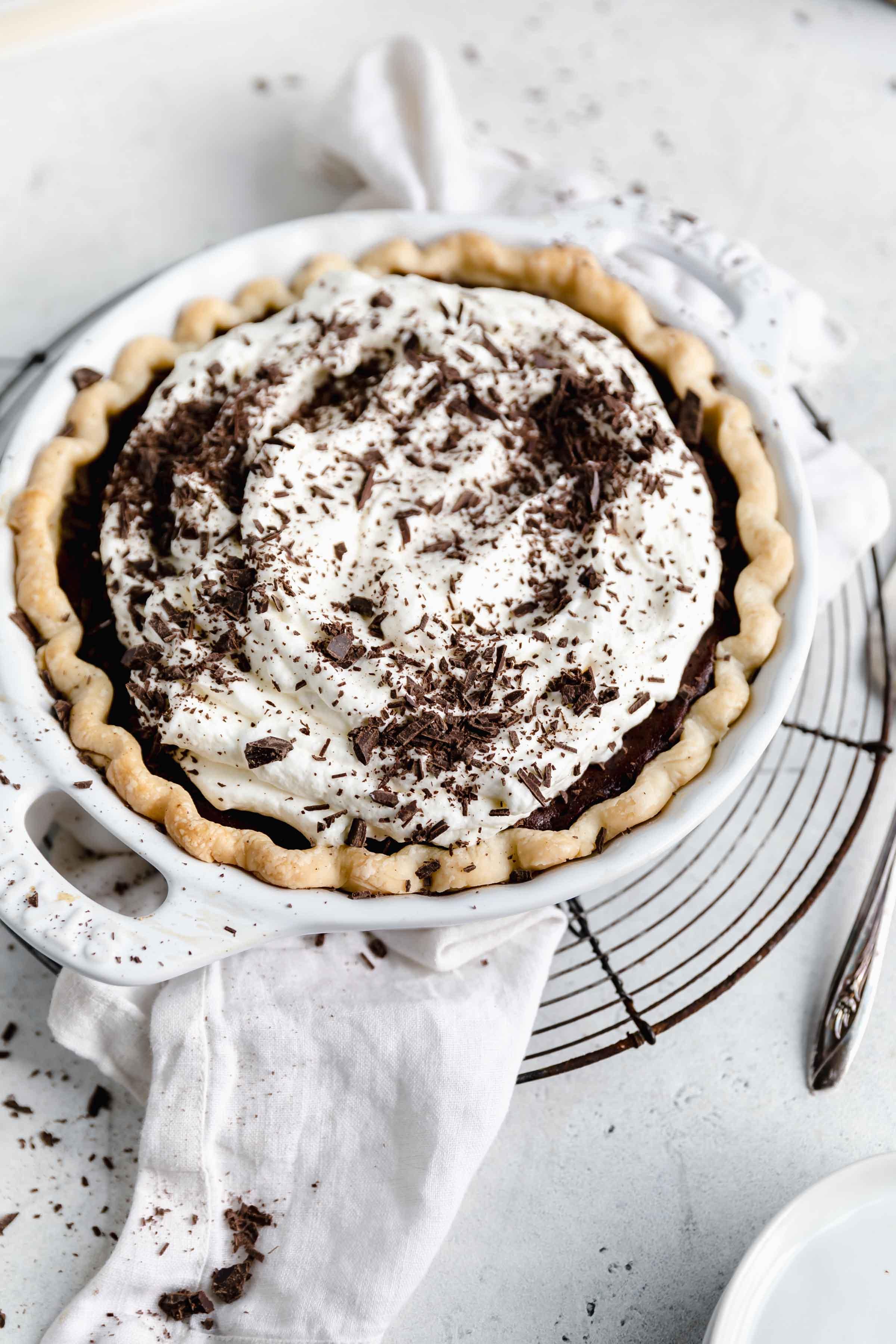 overhead shot of chocolate cream pie