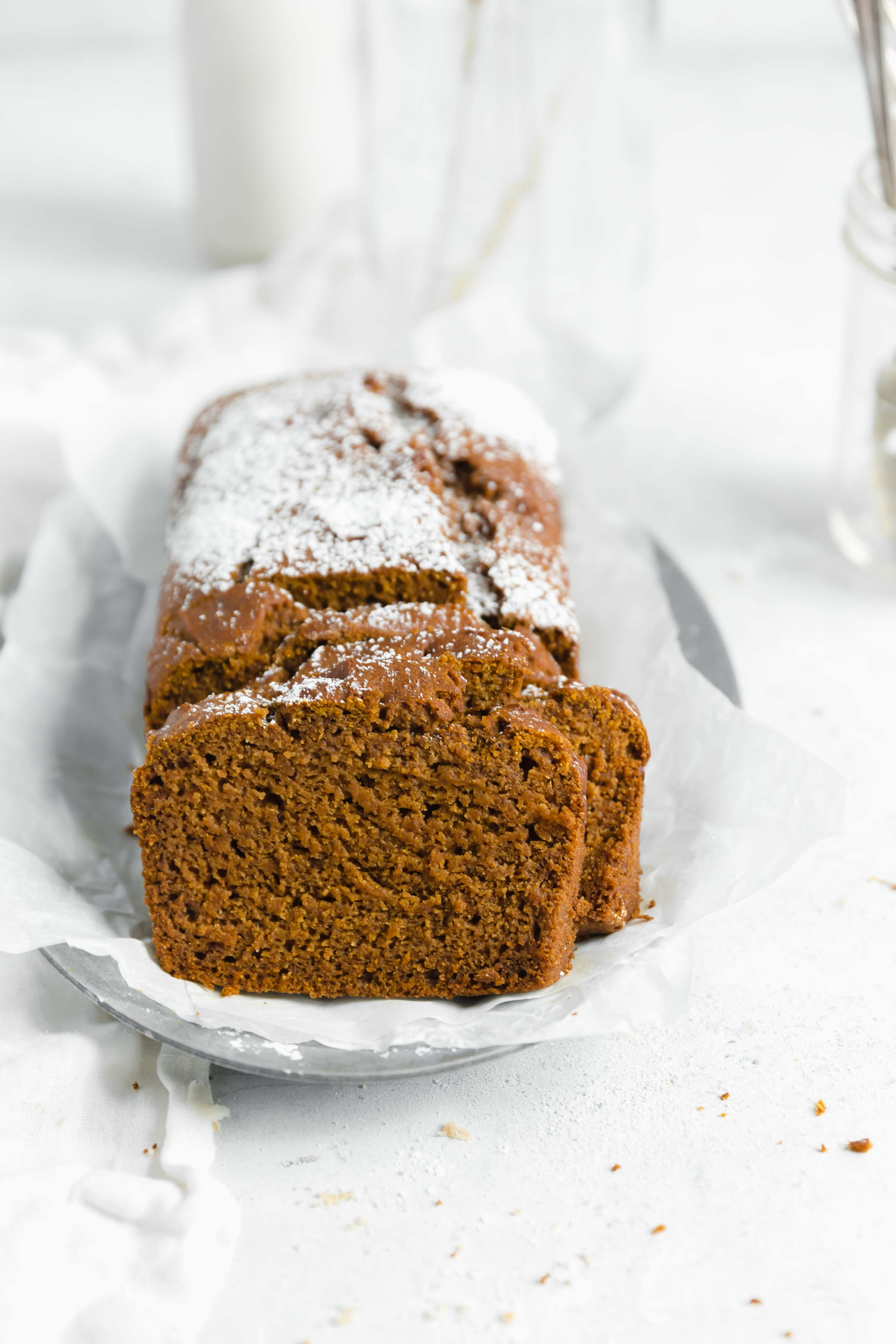 healthy gluten free pumpkin bread made with a whole cup of pumpkin and sweetened with maple syrup!