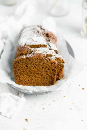 gluten free pumpkin bread loaf straight on