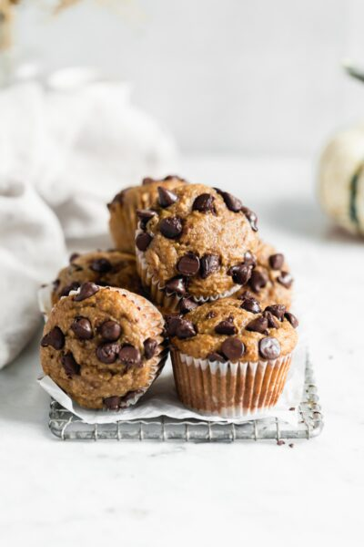 Healthy peanut butter banana muffins with chocolate chips are our new favorite healthier breakfast. And they're about to be yours too :)