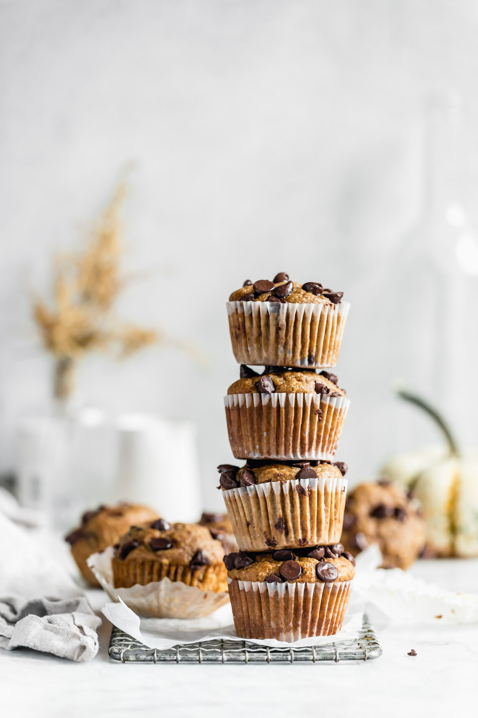 stack of healthy peanut butter banana muffins