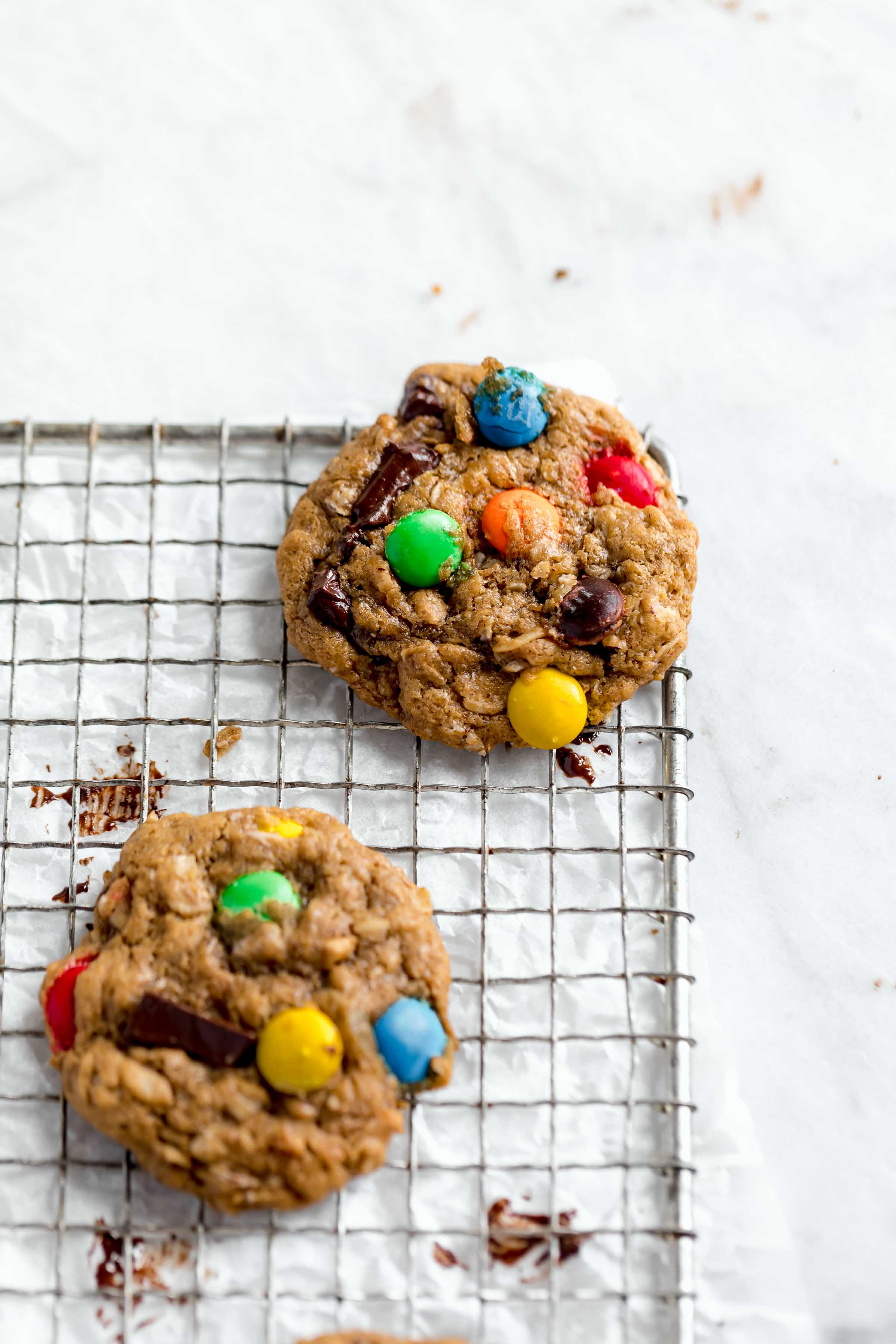 healthyish monster cookies loaded with peanut butter, m and ms and dark chocolate