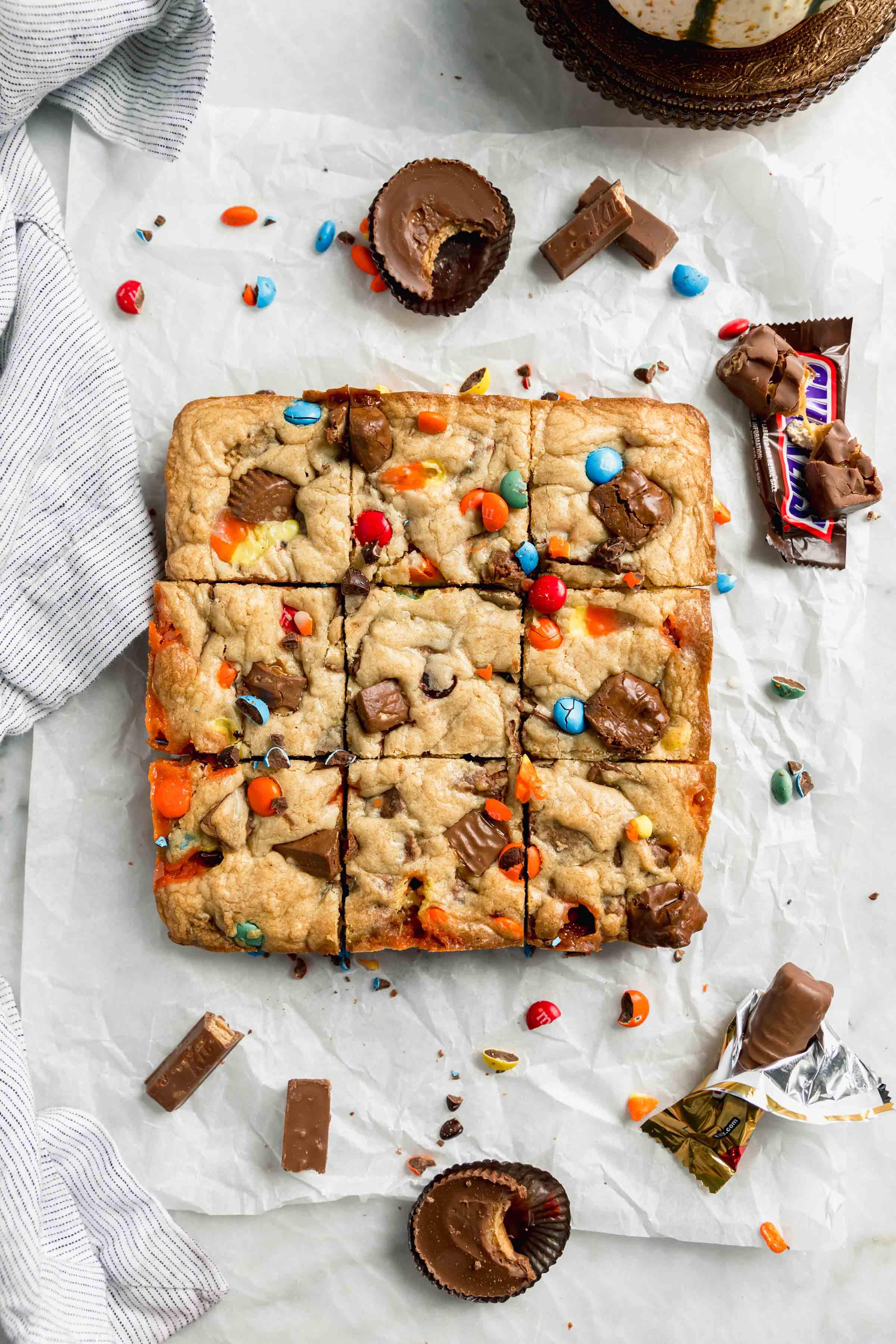 easy halloween candy cookie bars overhead shot