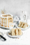 This decadent praline layer cake is the perfect centerpiece for all your Fall celebrations! Made with a moist and tender vanilla cake sandwiched together with a gooey homemade praline feeling and frosted with fluffy buttercream. Um YES. #bromabakery #pralinelayercake #foodphotography