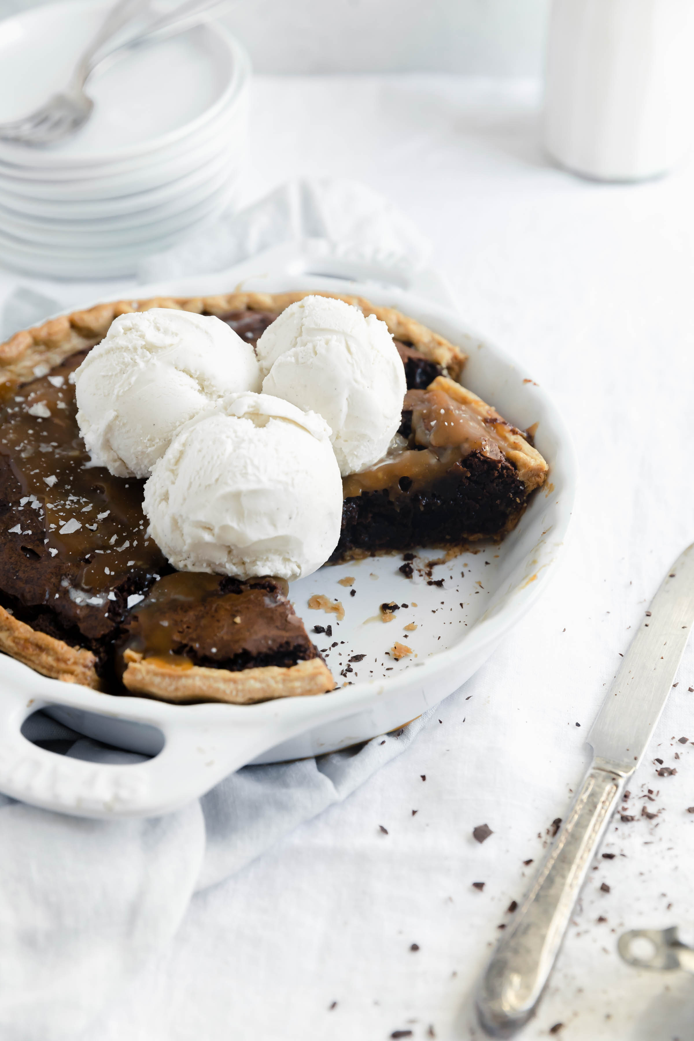 This salted caramel brownie pie is a lazy girl's dream. Made with a store bought brownie mix, pie crust, and premade caramel sauce,this pie comes together in a pinch!