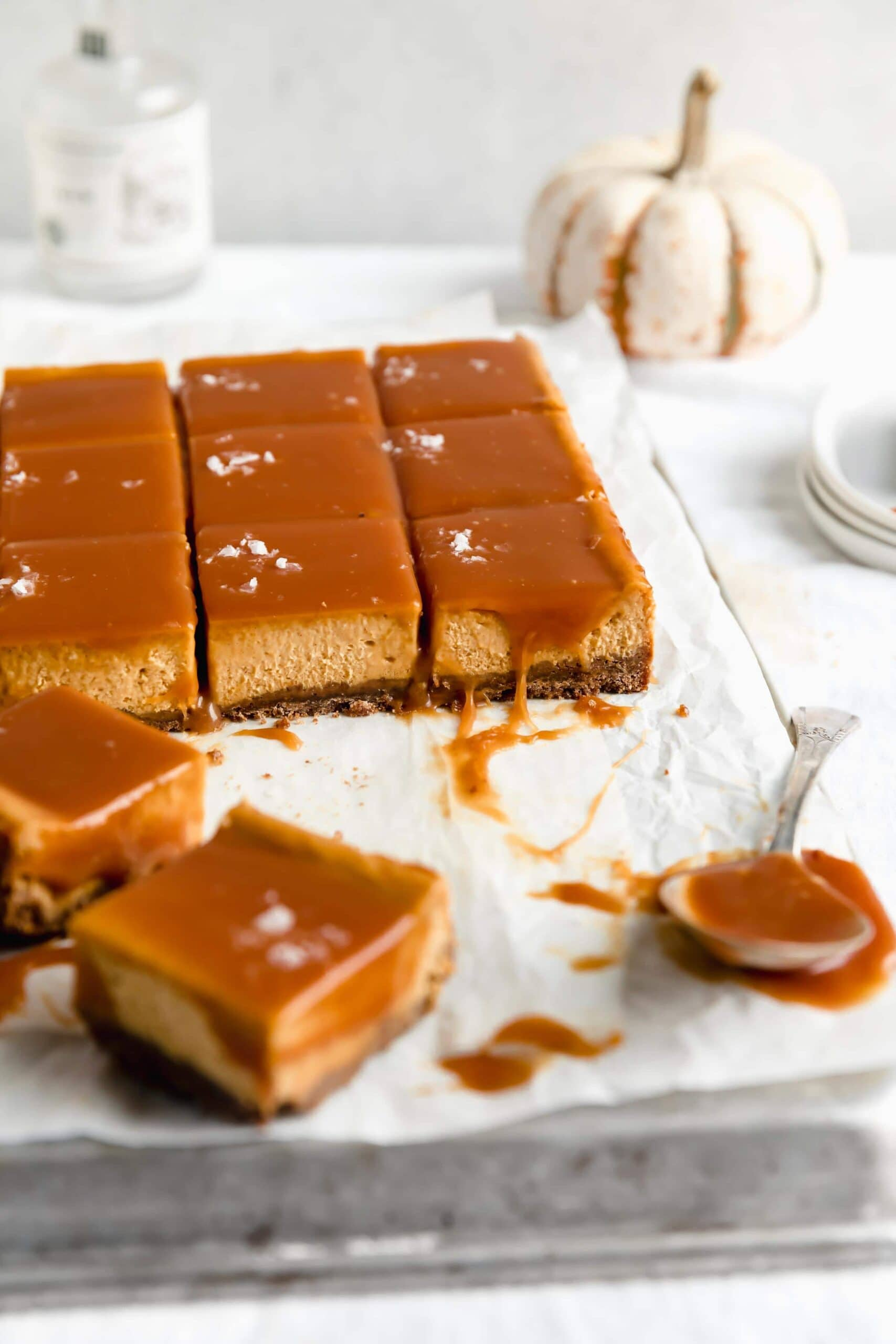 Salted Caramel Pumpkin Cheesecake Bars Broma Bakery