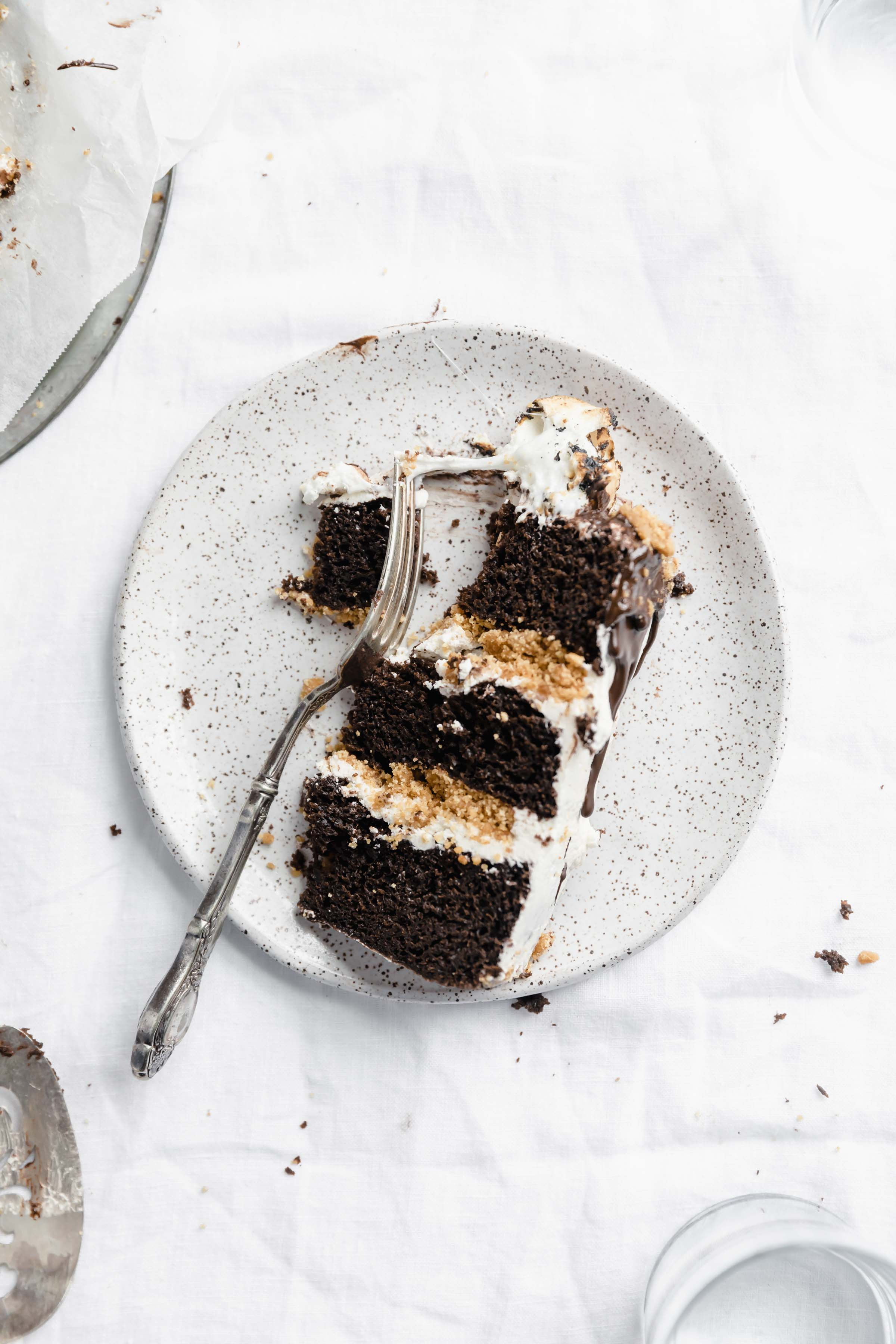 s'more cake slice with fork