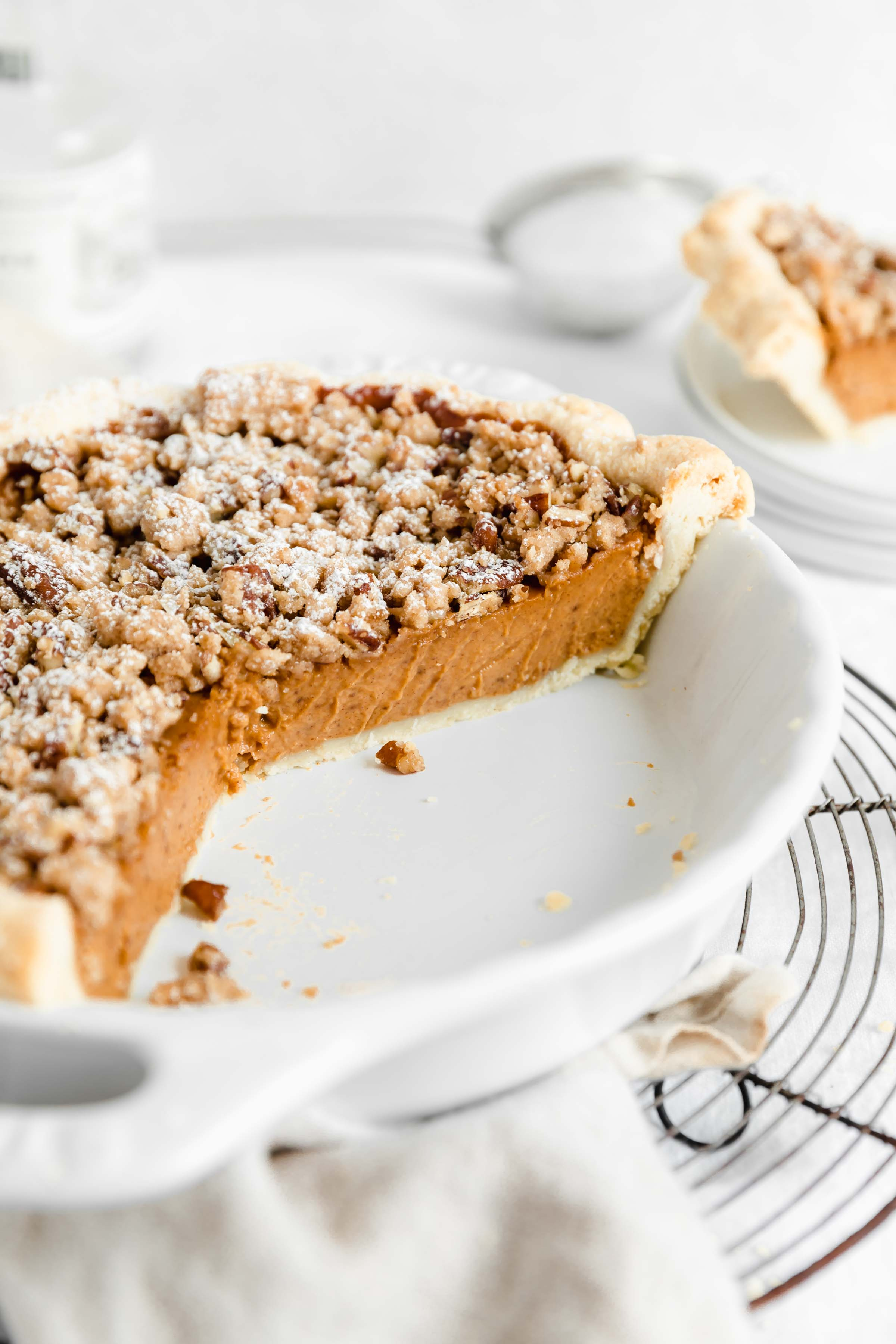 Creamy sweet potato pie with a delicious, crunchy almond streusel. Perfect for the holidays or using up some leftover sweet potatoes!